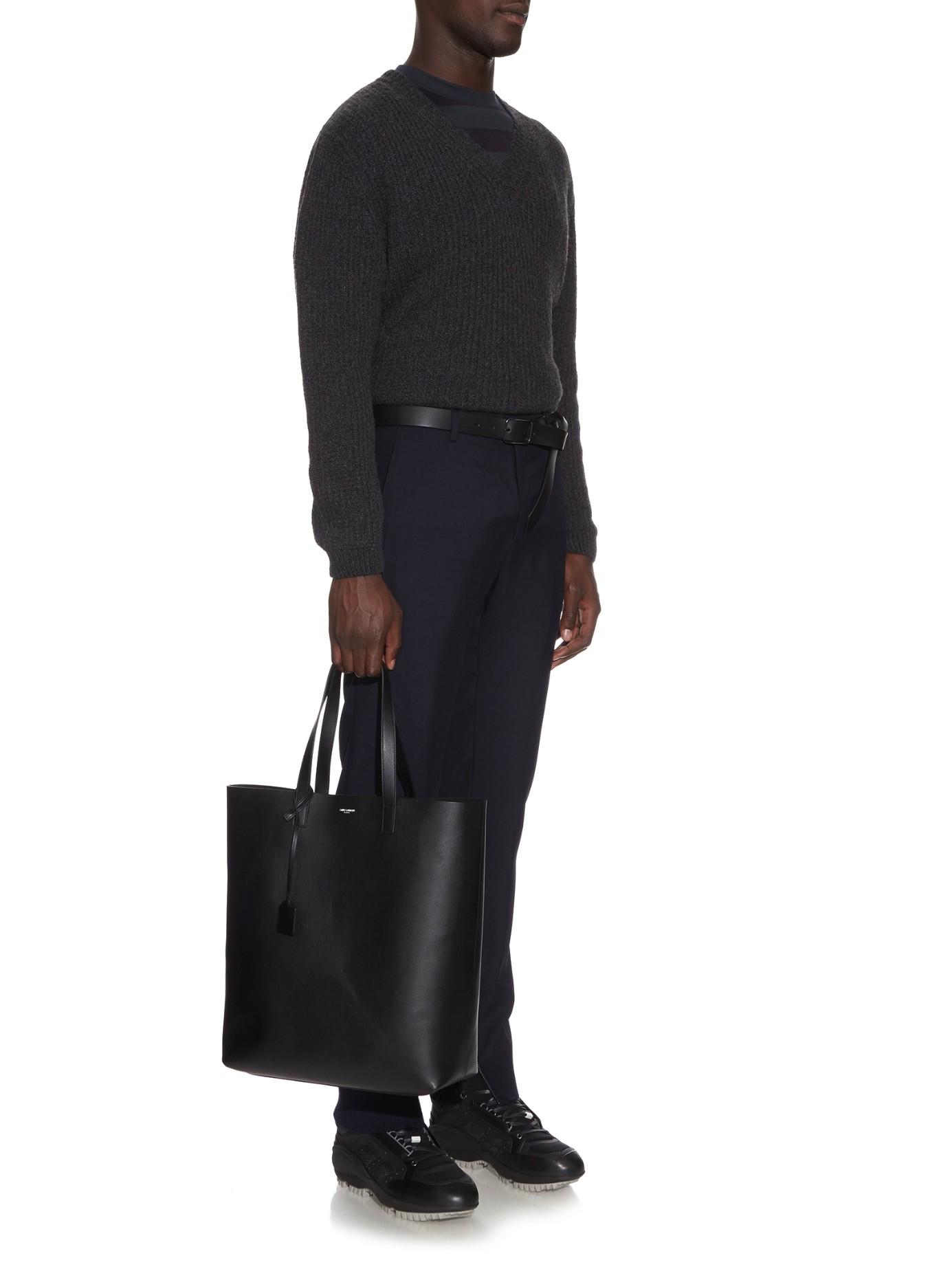 Lyst Saint Laurent Monogram Leather Shopper Bag In Black