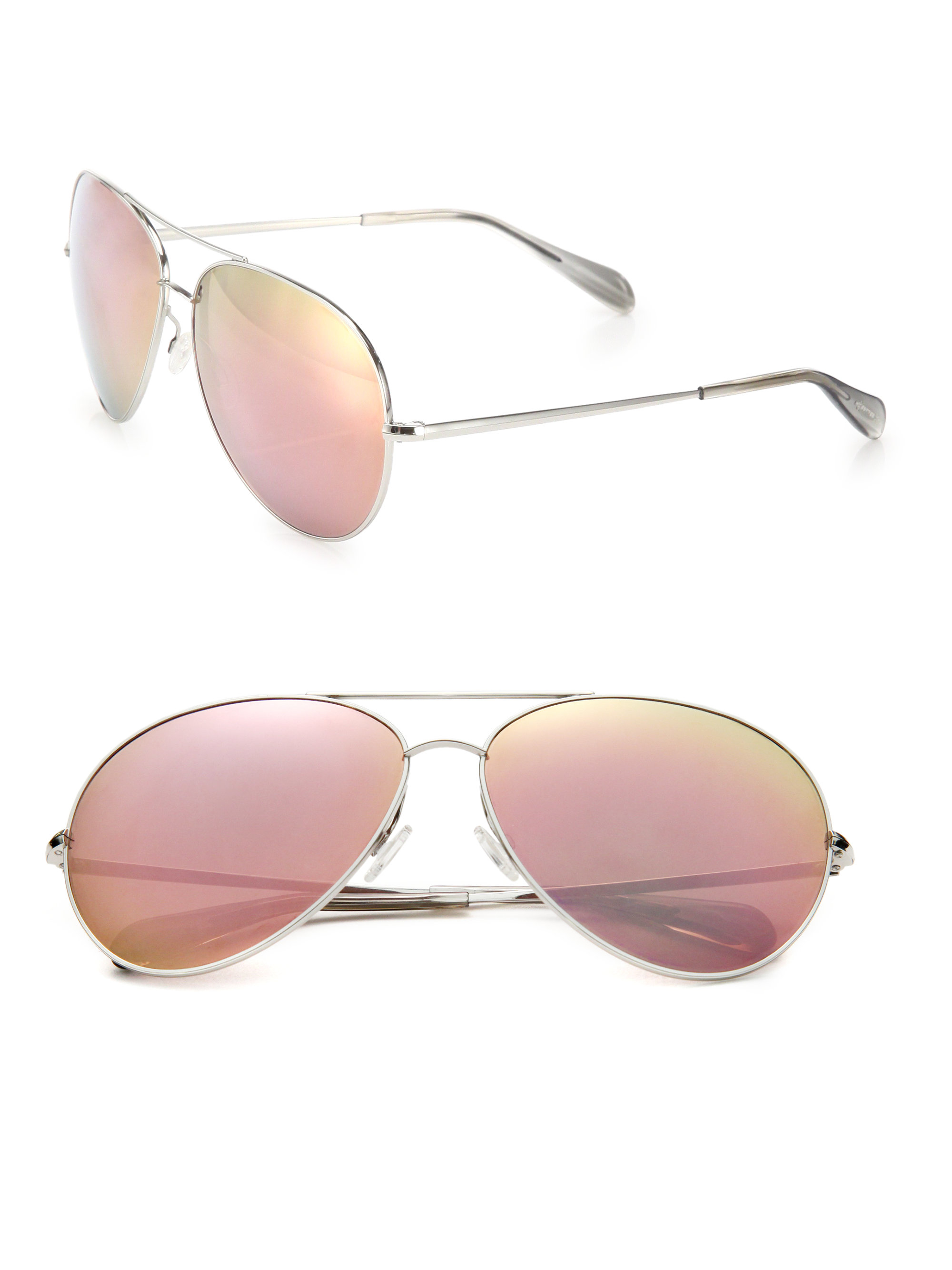 67e083fa5 Oliver Peoples Sayer Aviator Sunglasses in Metallic - Lyst