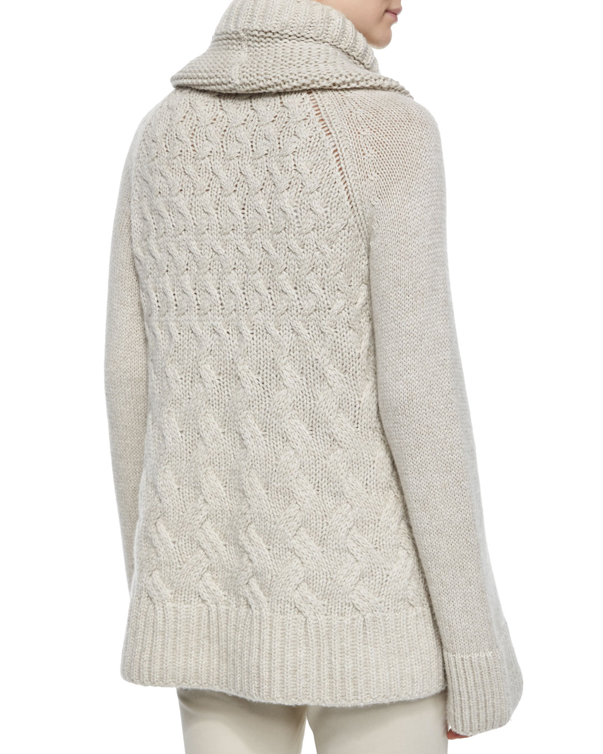 Loro piana Cashmere Chunky Cable-Knit Tunic Sweater in Natural | Lyst