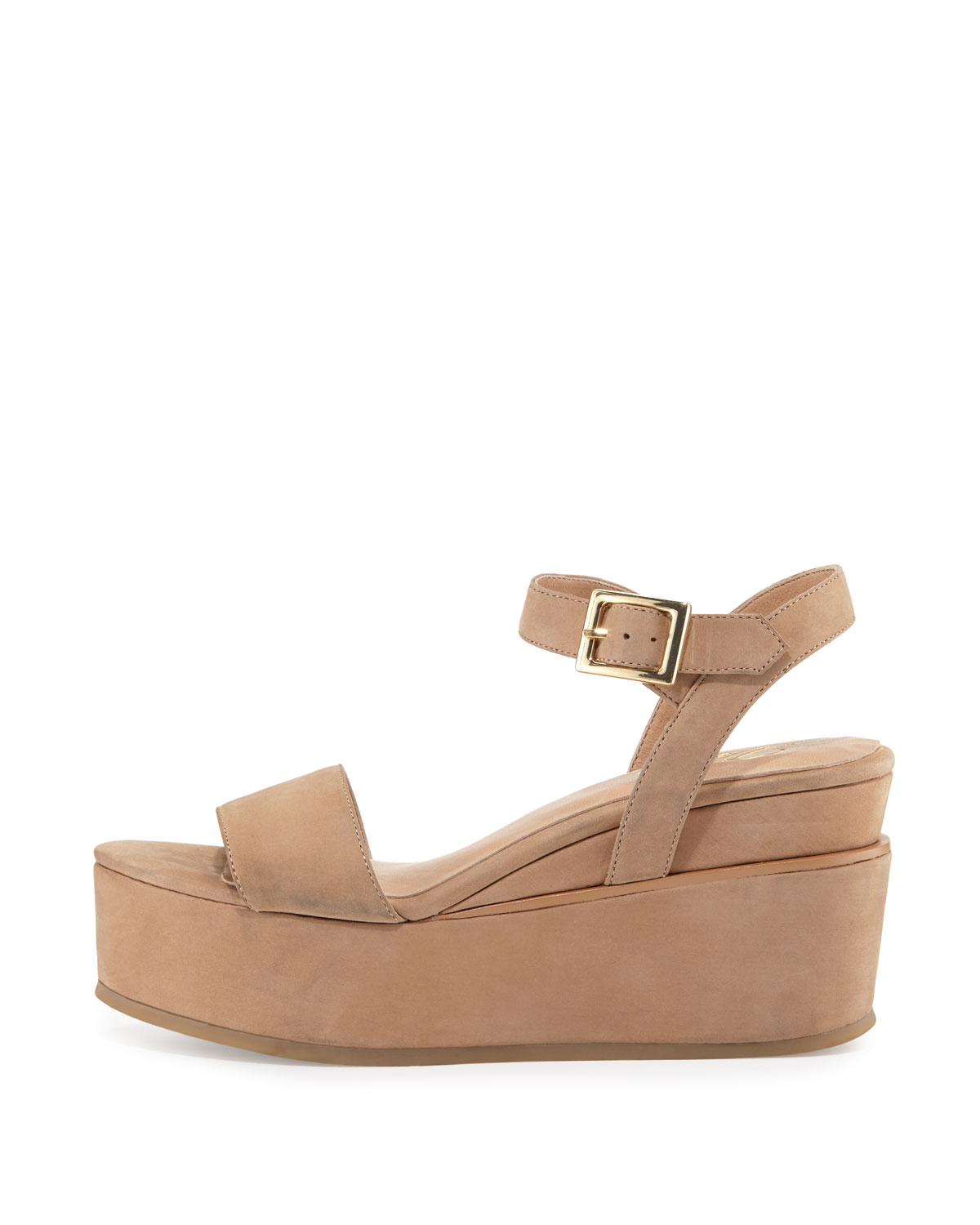 Lyst Delman Angie Nubuck Wedge Sandal In Natural