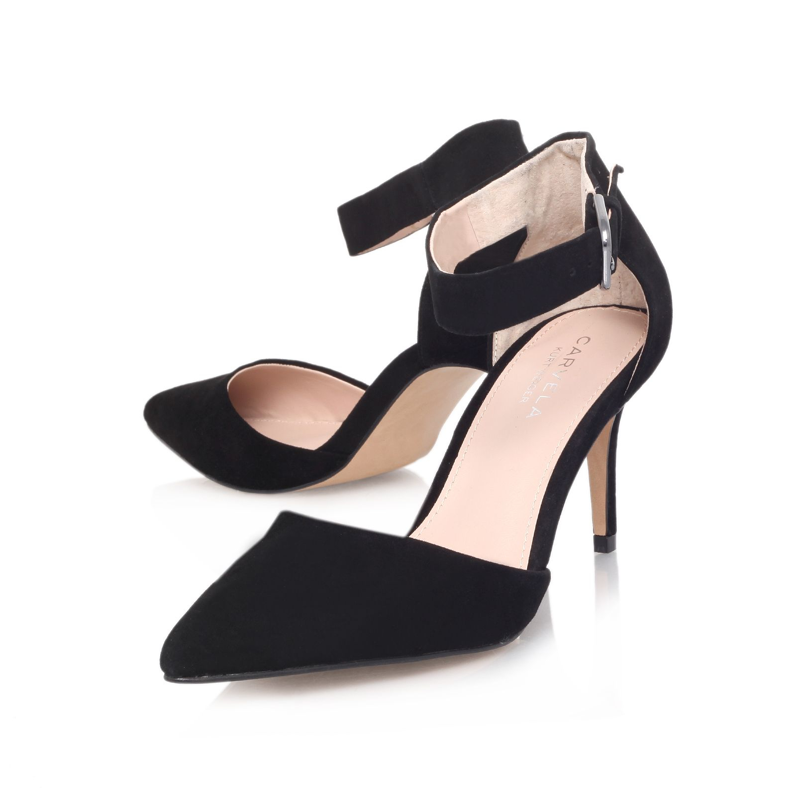 Carvela kurt geiger Argue Suede Pointed Mid Heel Ankle Strap Court ...