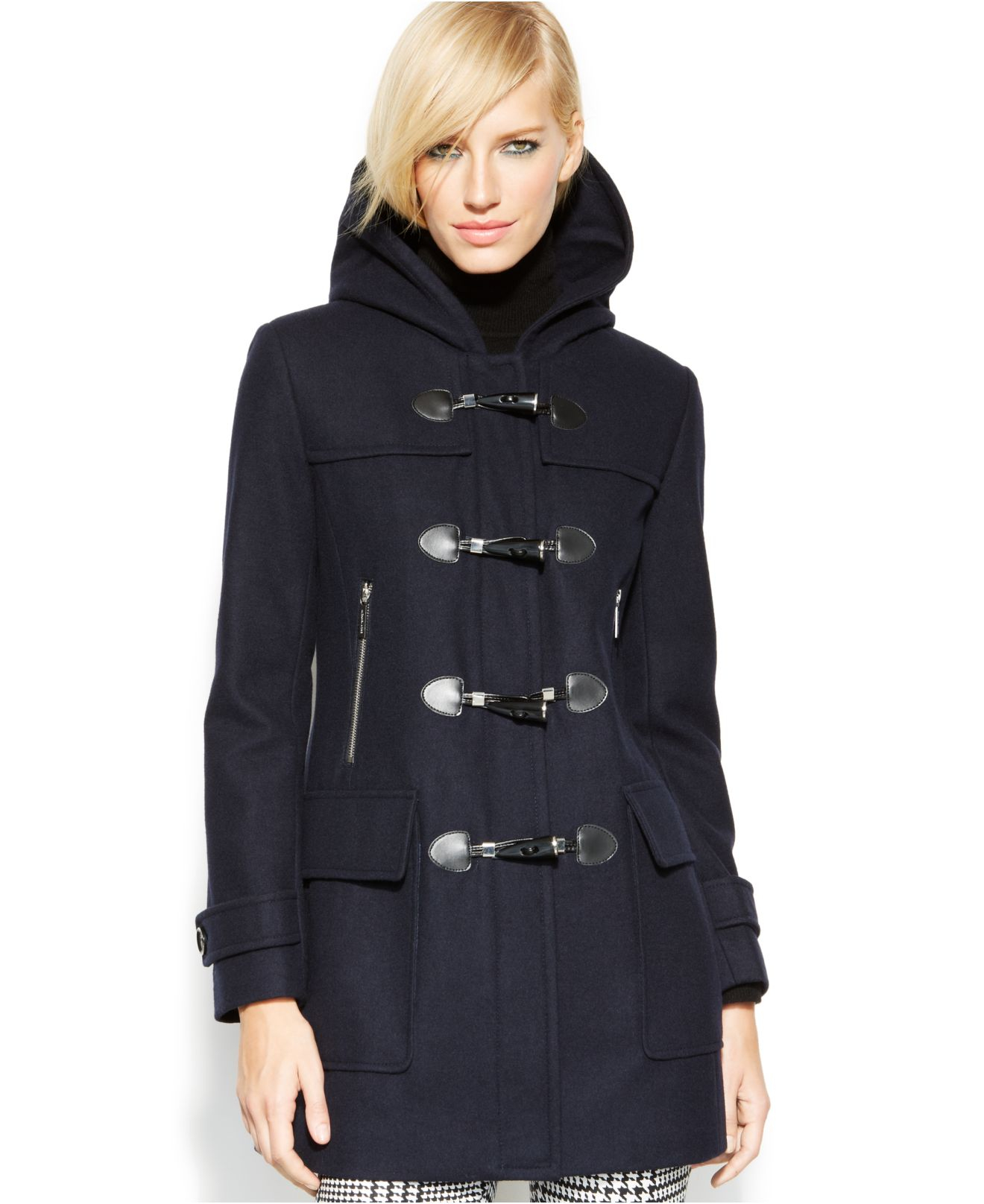 06cdbbed4 Michael Kors Michael Toggle-Front Hooded Coat in Blue - Lyst