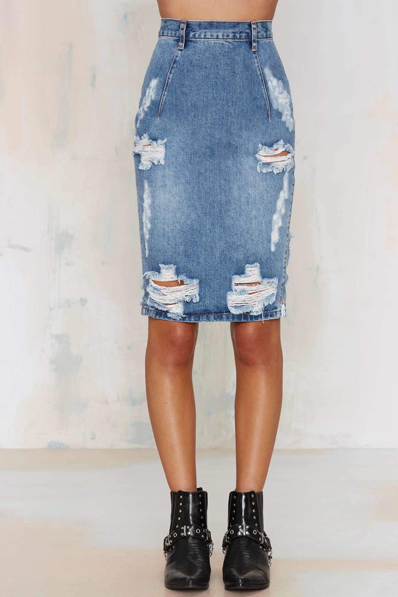 one teaspoon freelove denim skirt austyn in blue lyst