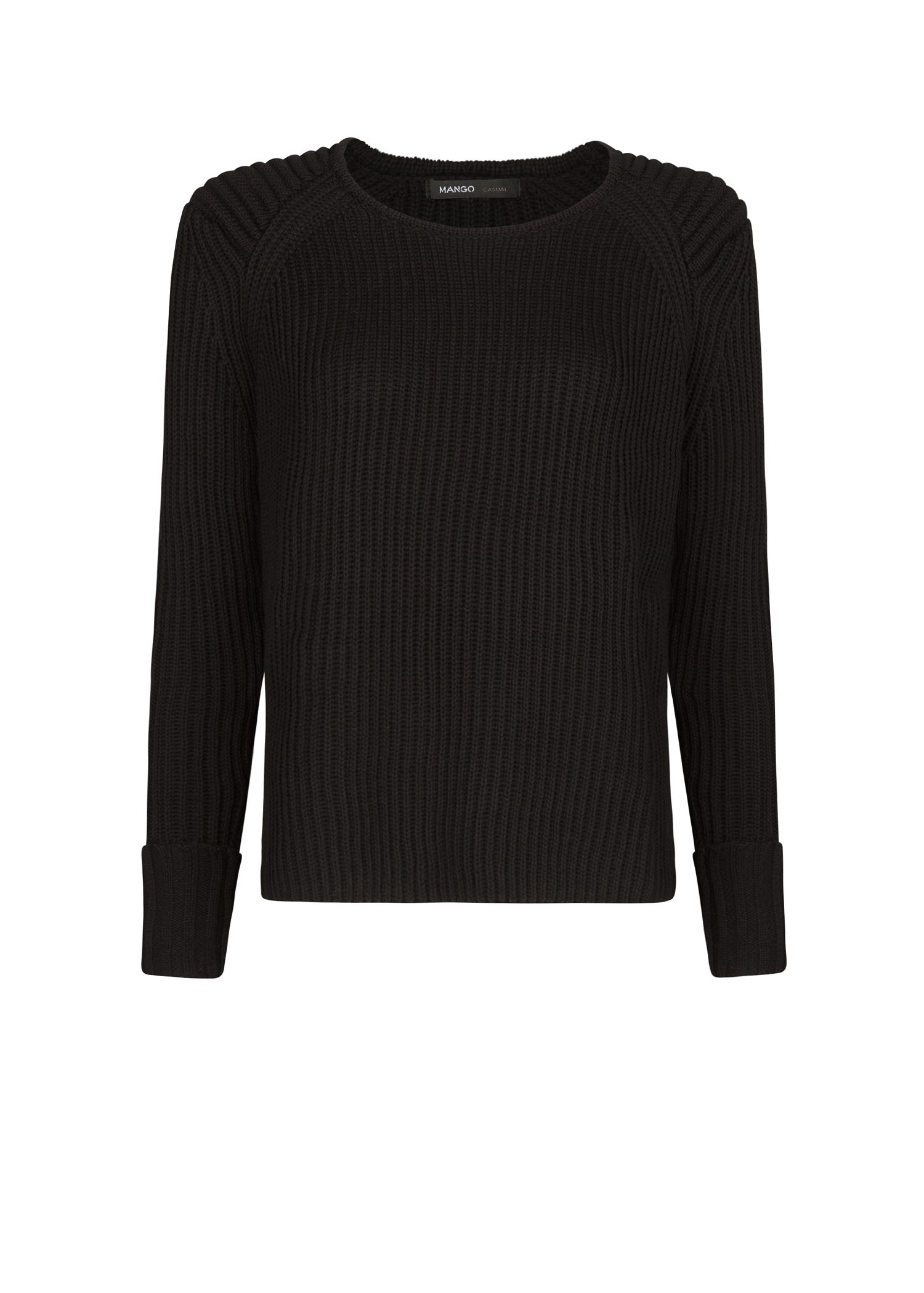 Mango Ribbed Sweater in Black | Lyst