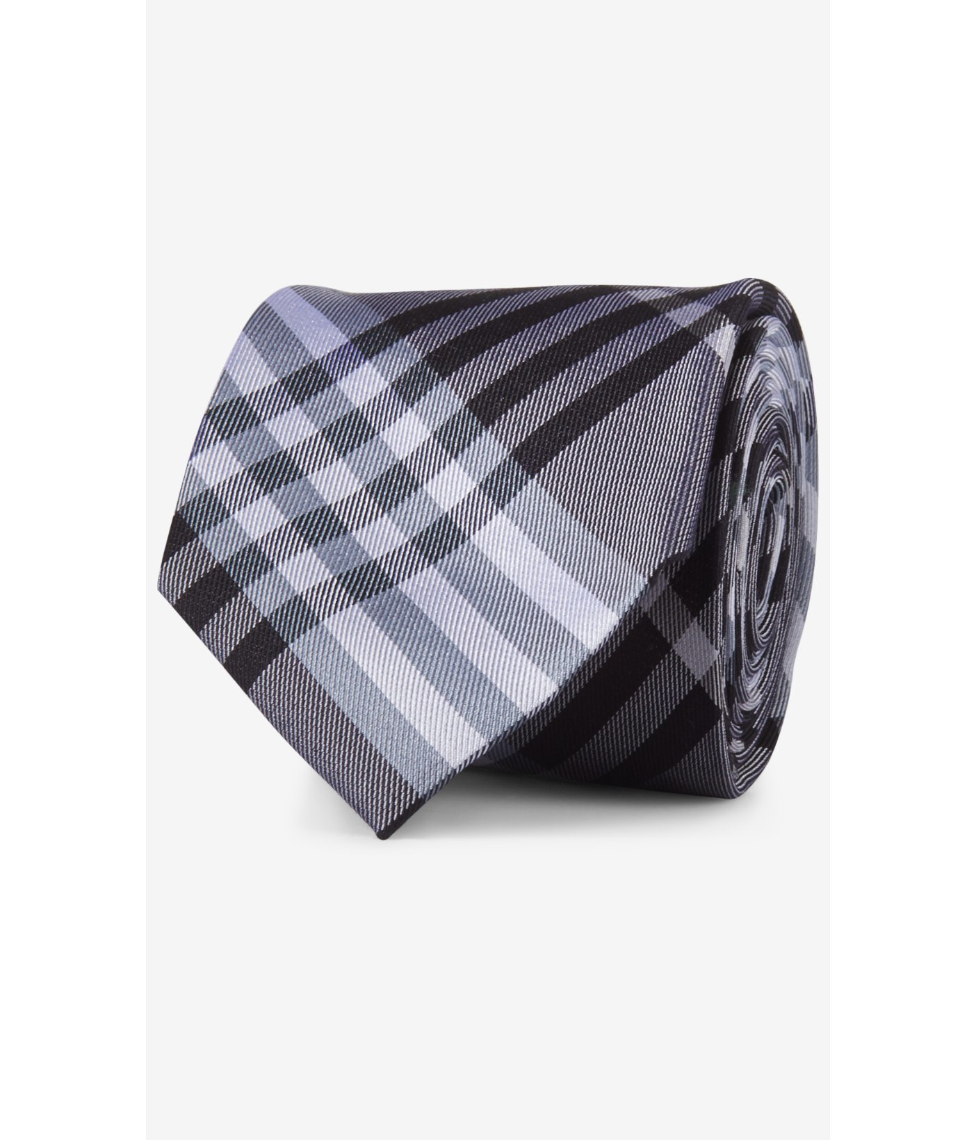 express narrow plaid silk tie bright purple in gray for