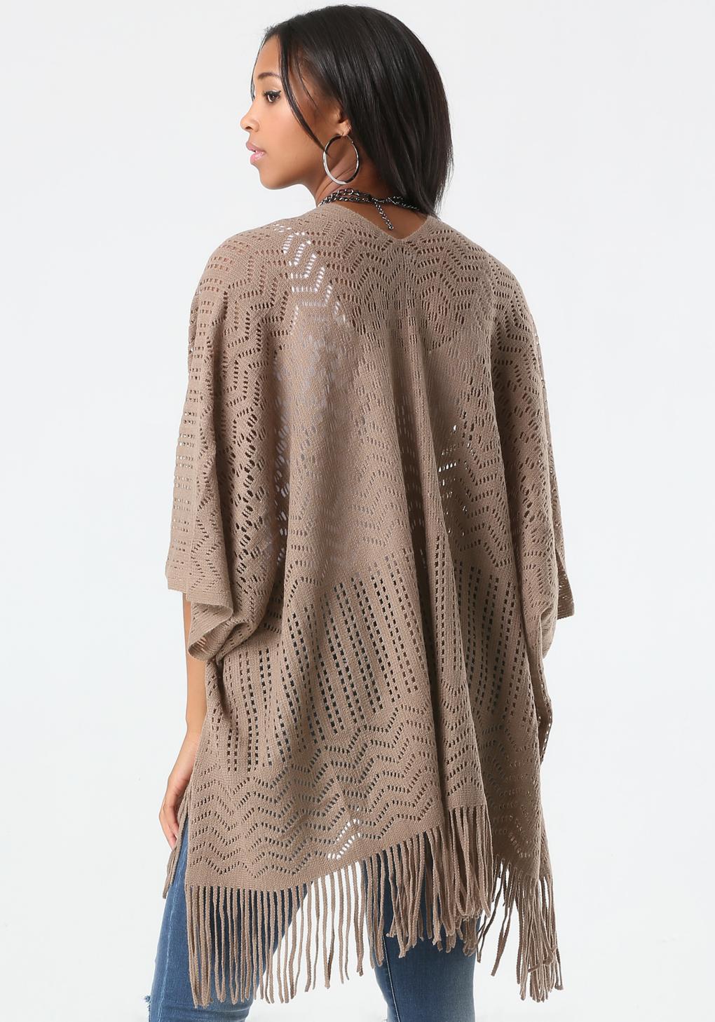 Knit Ruana Pattern Free : Bebe Pattern Knit Fringe Ruana in Brown Lyst
