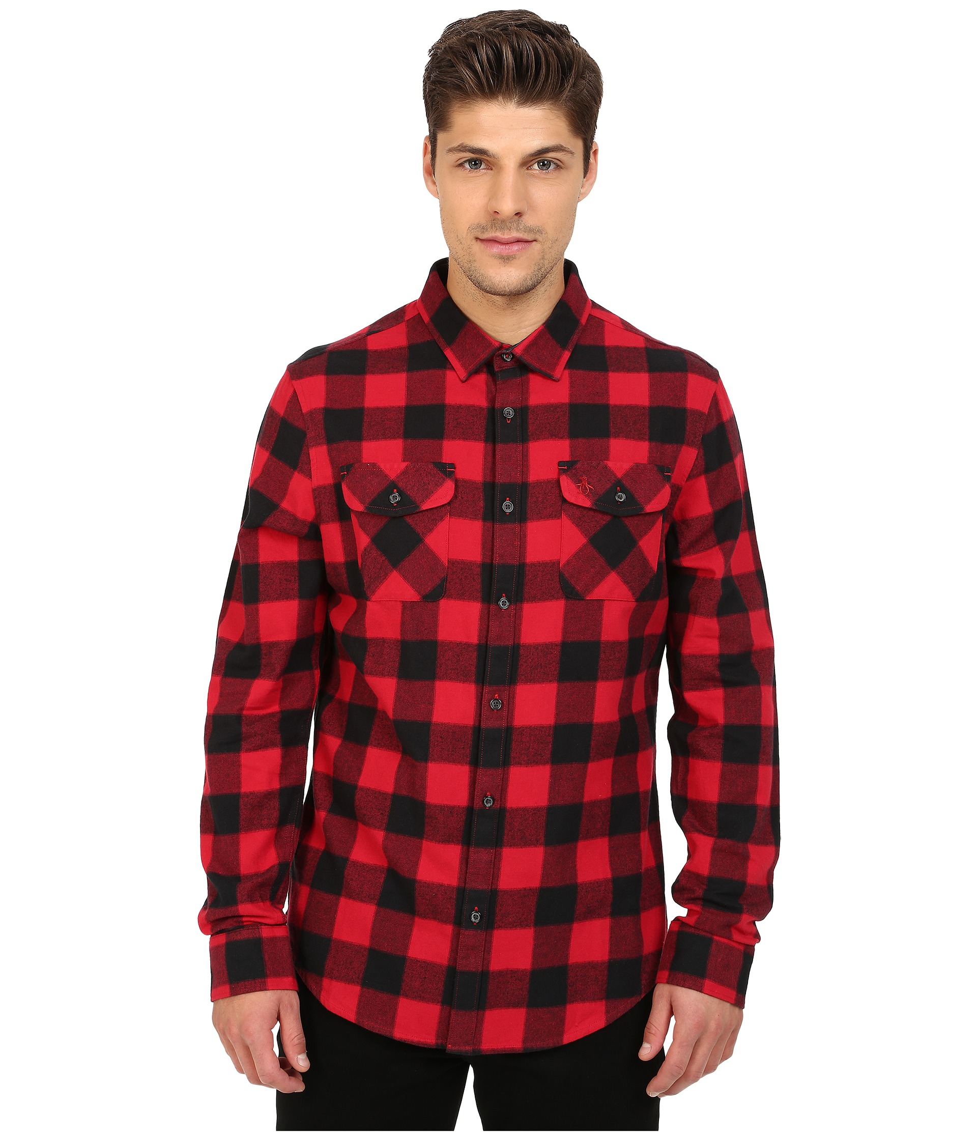 Original Penguin Long Sleeve Buffalo Check Brushed Cotton