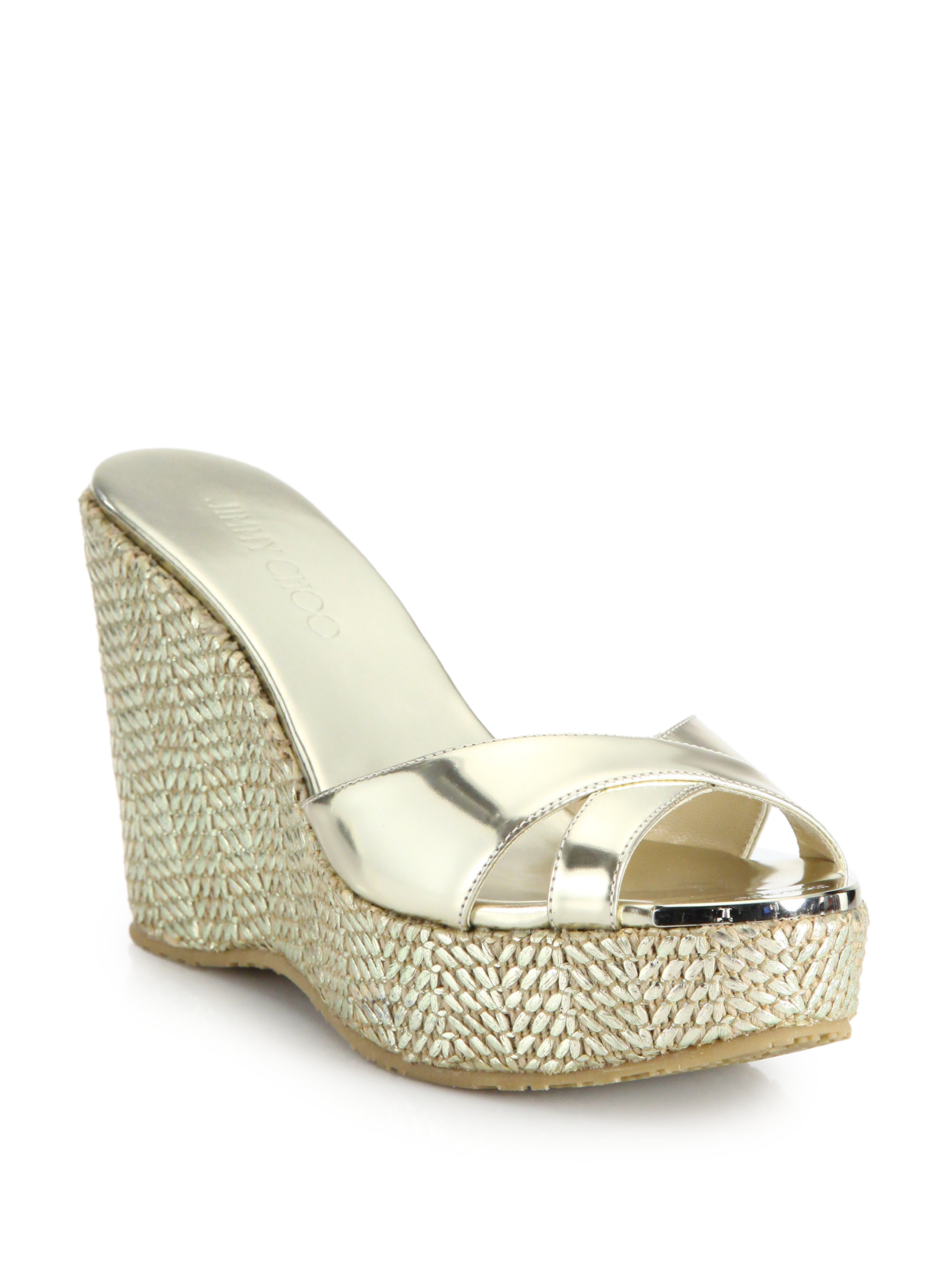 d1516ce0358 Lyst - Jimmy Choo Perfume Metallic Leather Woven Wedge Sandals in ...