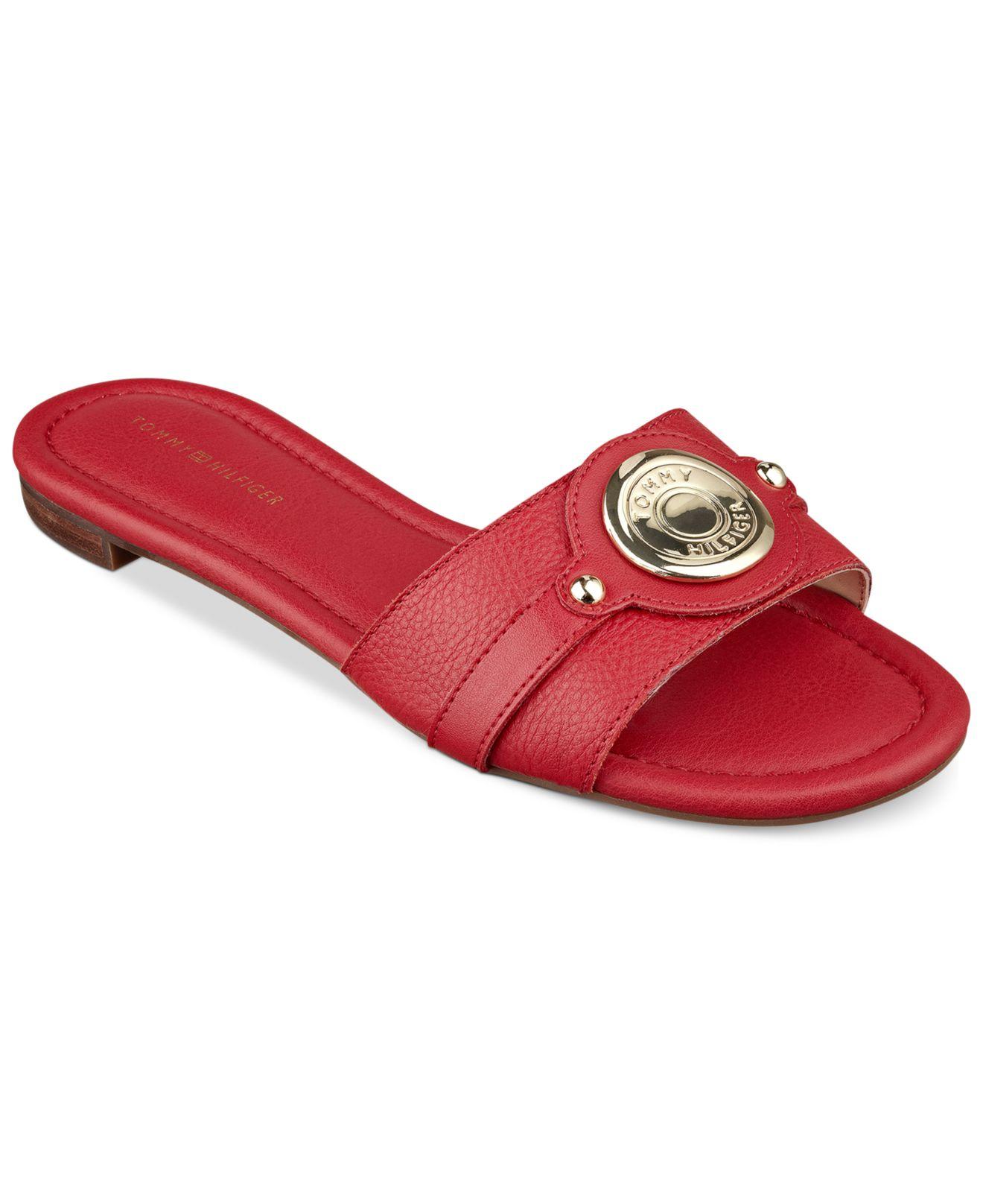6f3e048c6 Lyst - Tommy Hilfiger Women S Icela Slide Sandals in Red