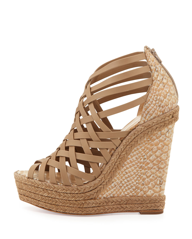 christian louboutin usa - christian louboutin cataclou studded platform wedge sandal beige ...