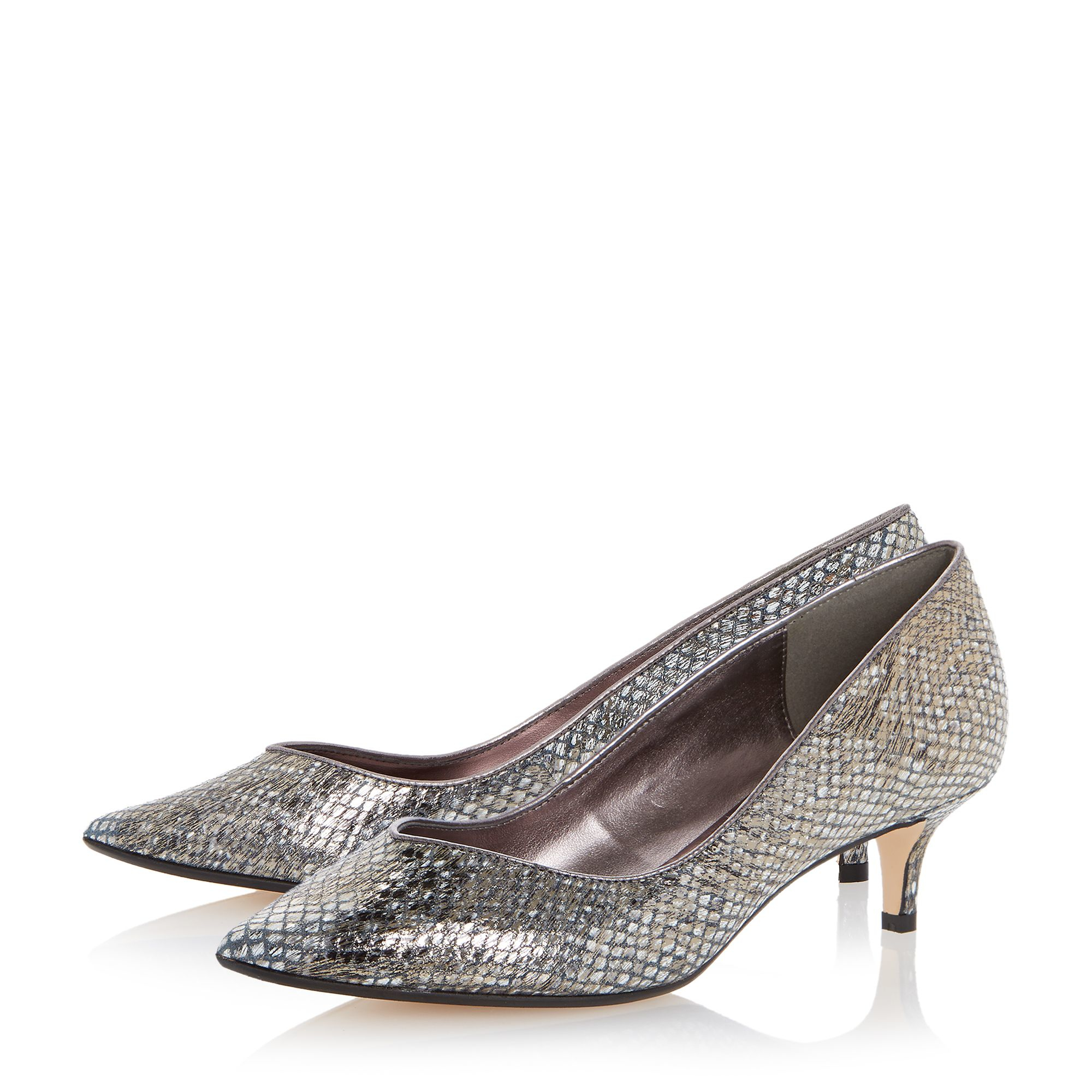 Dune Allice Sweetheart Kitten Heel Court Shoes in Metallic | Lyst
