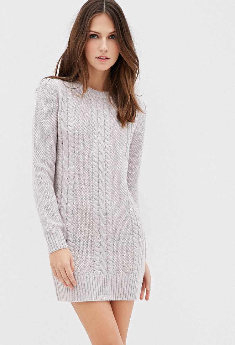 Forever 21 Cable Knit Sweater Dress in Gray | Lyst