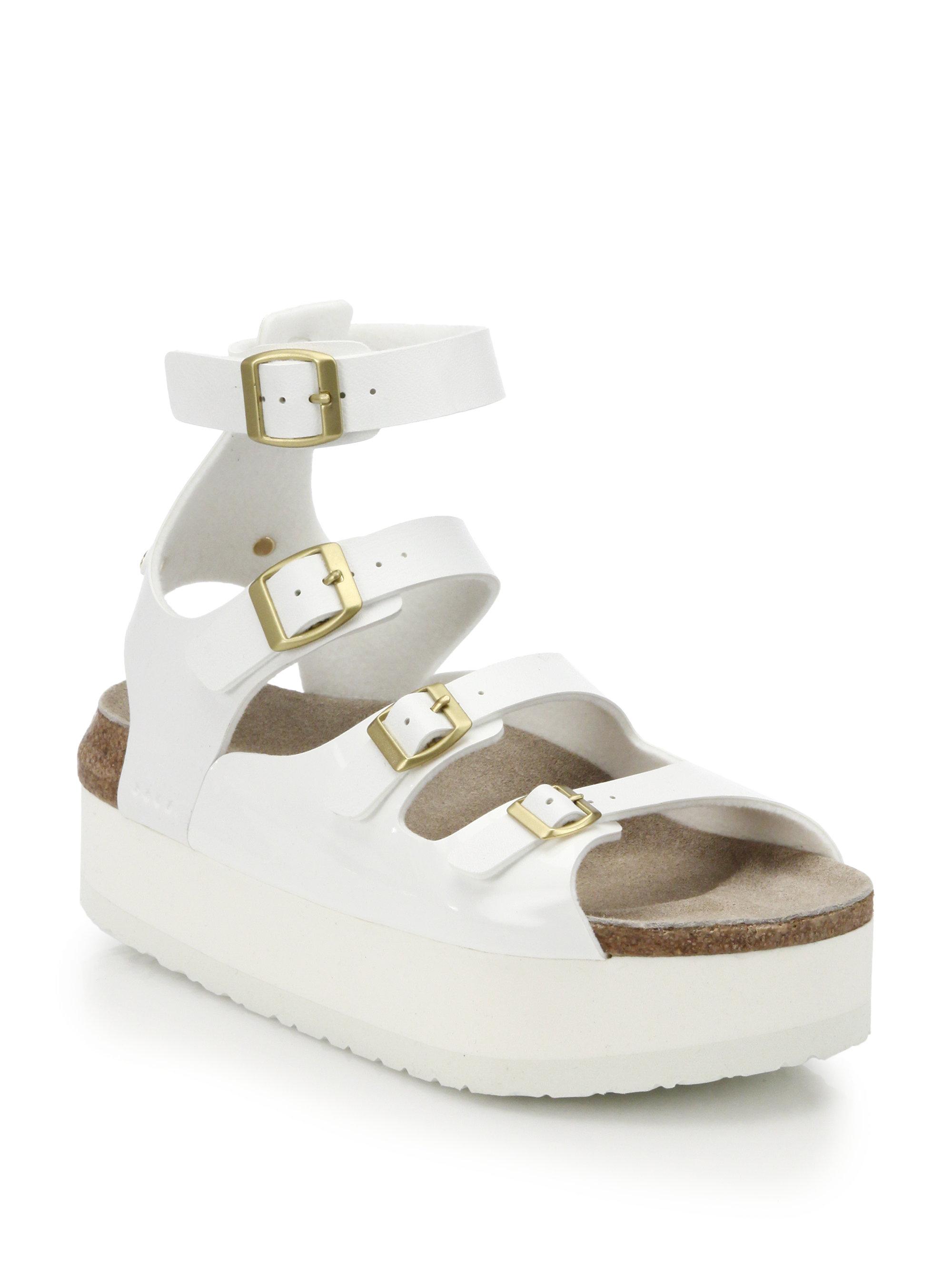 dfdfa8fa856 Lyst - Sacai Multi-Strap Leather Platform Sandals in White