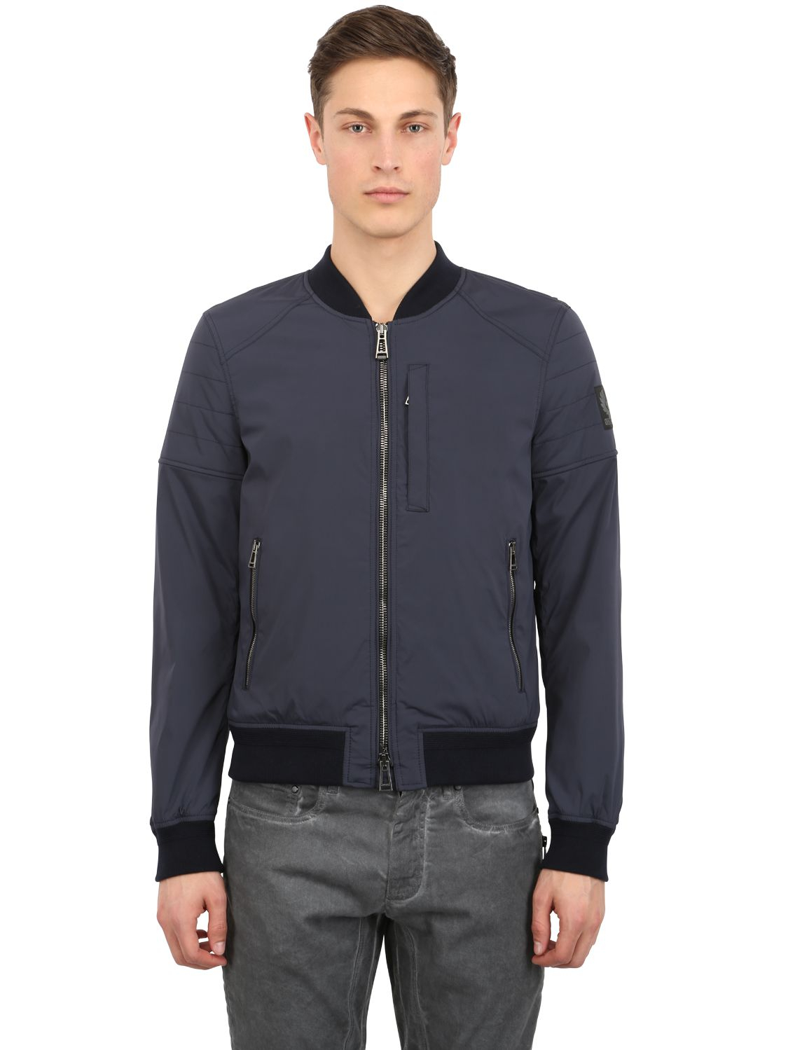 Belstaff Stockdale Stretch Nylon Bomber Jacket in Blue for Men | Lyst