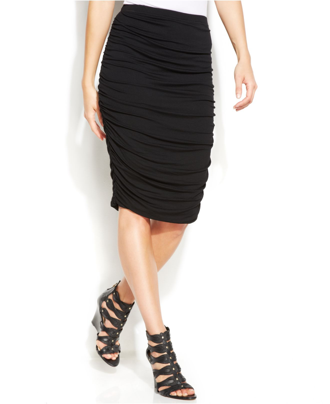 Ruched Pencil Skirt - Skirts