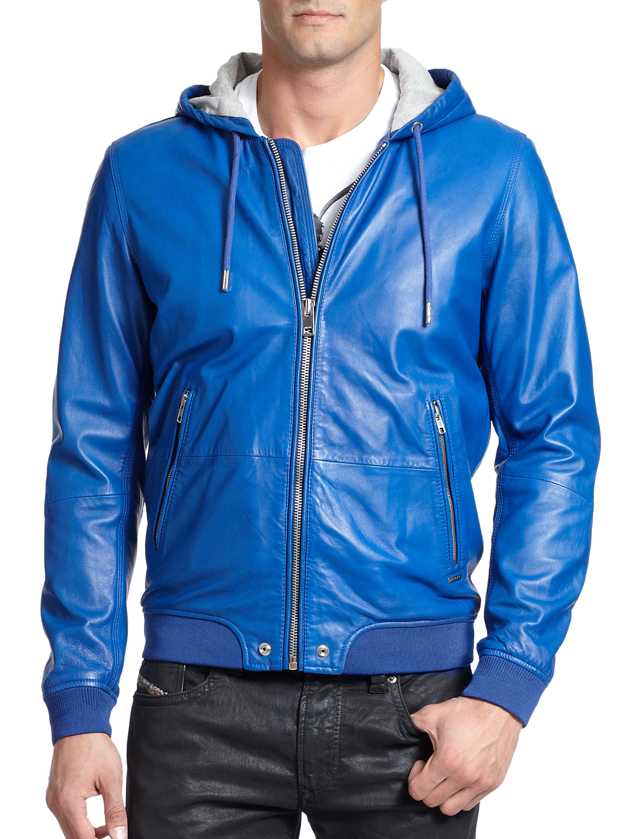 Diesel Hooded Leather Bomber Jacket in Blue for Men | Lyst