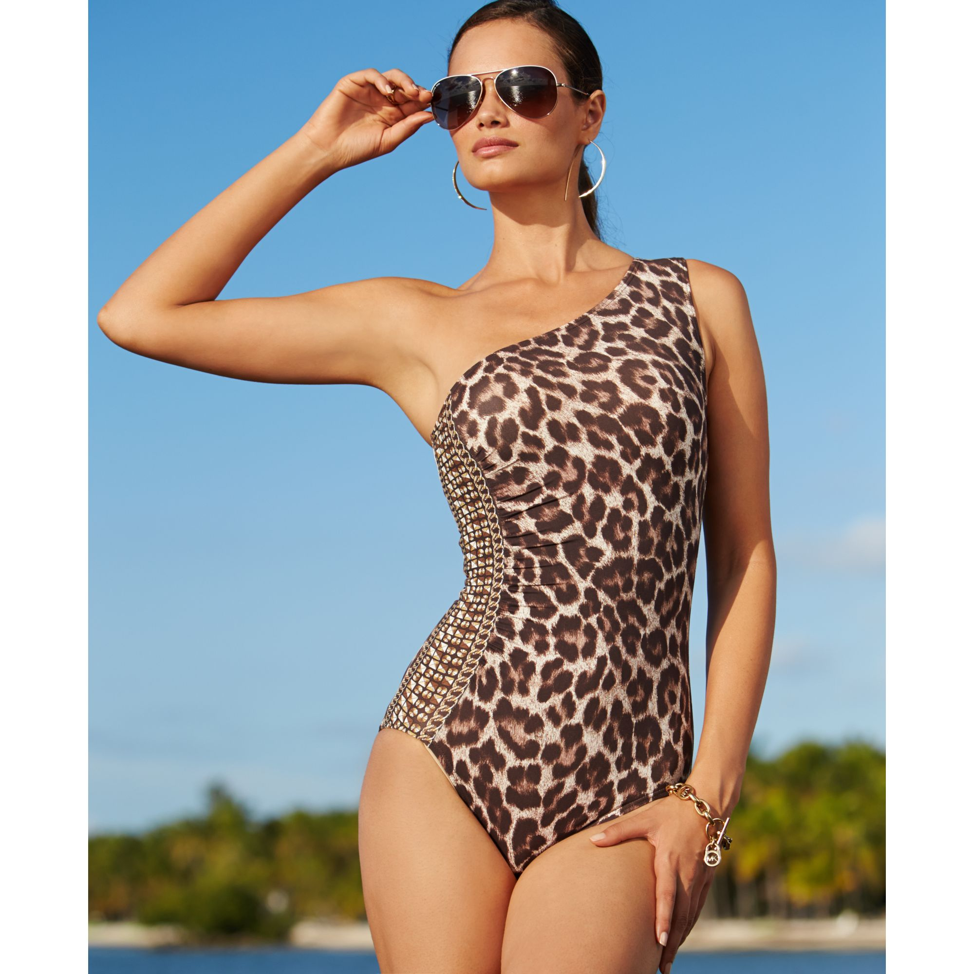 62bf8005a6 Lyst - Michael Kors Michael One Shoulder Animal Print One Piece ...