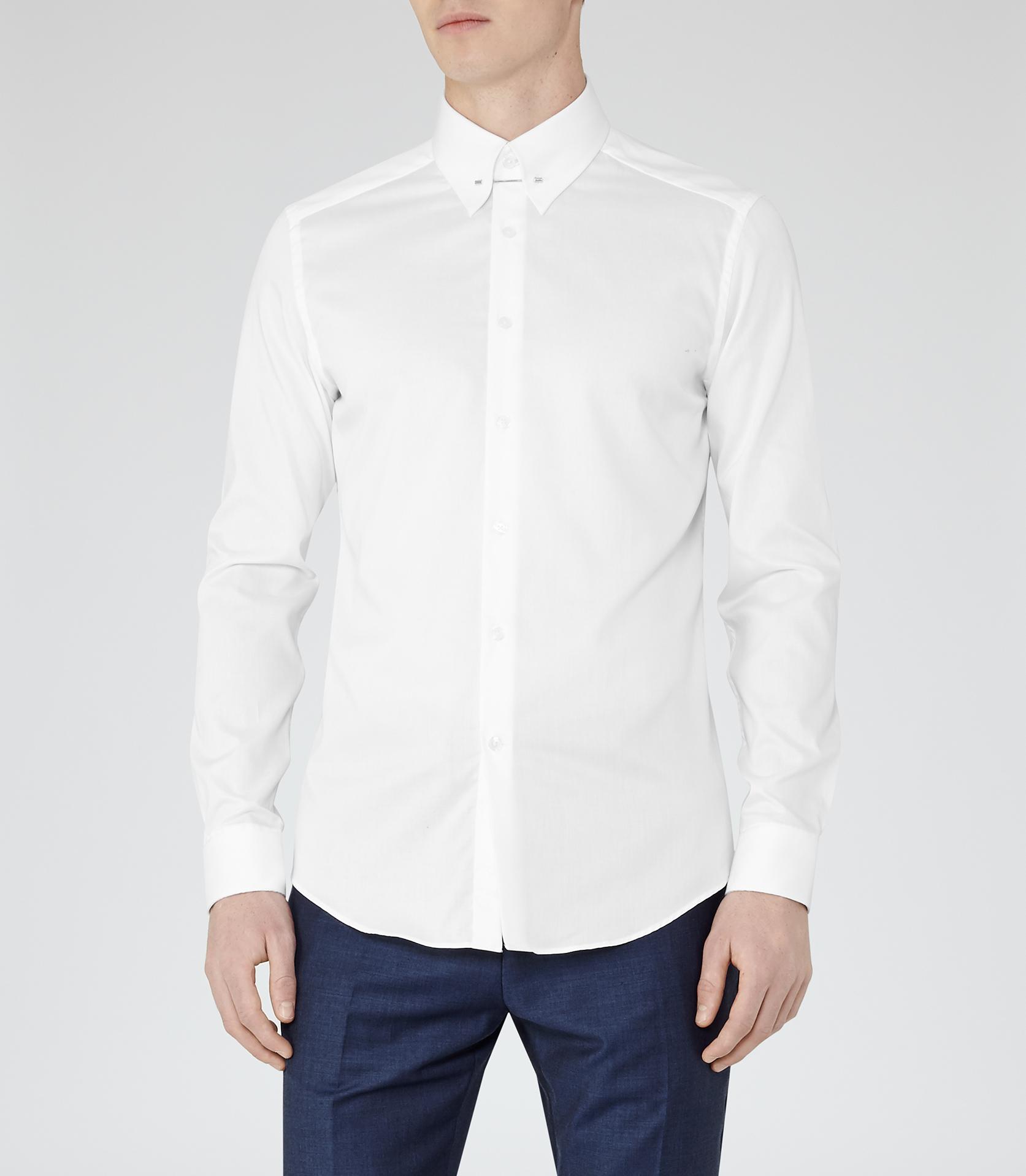 Reiss Belfort Collar Pin Shirt In White For Men Lyst