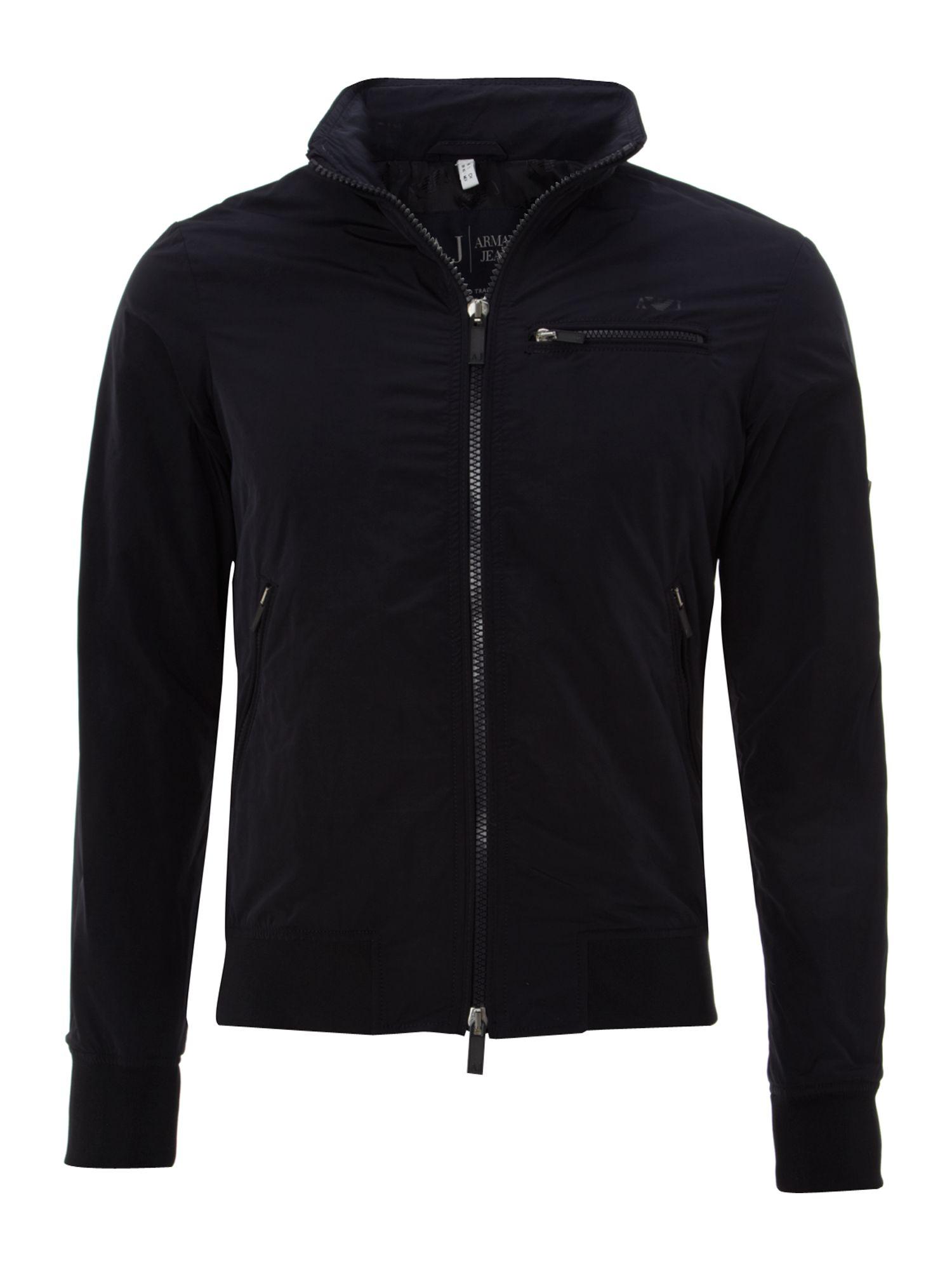 Armani Jeans Zip Up Logo Jacket In Blue For Men Navy Lyst