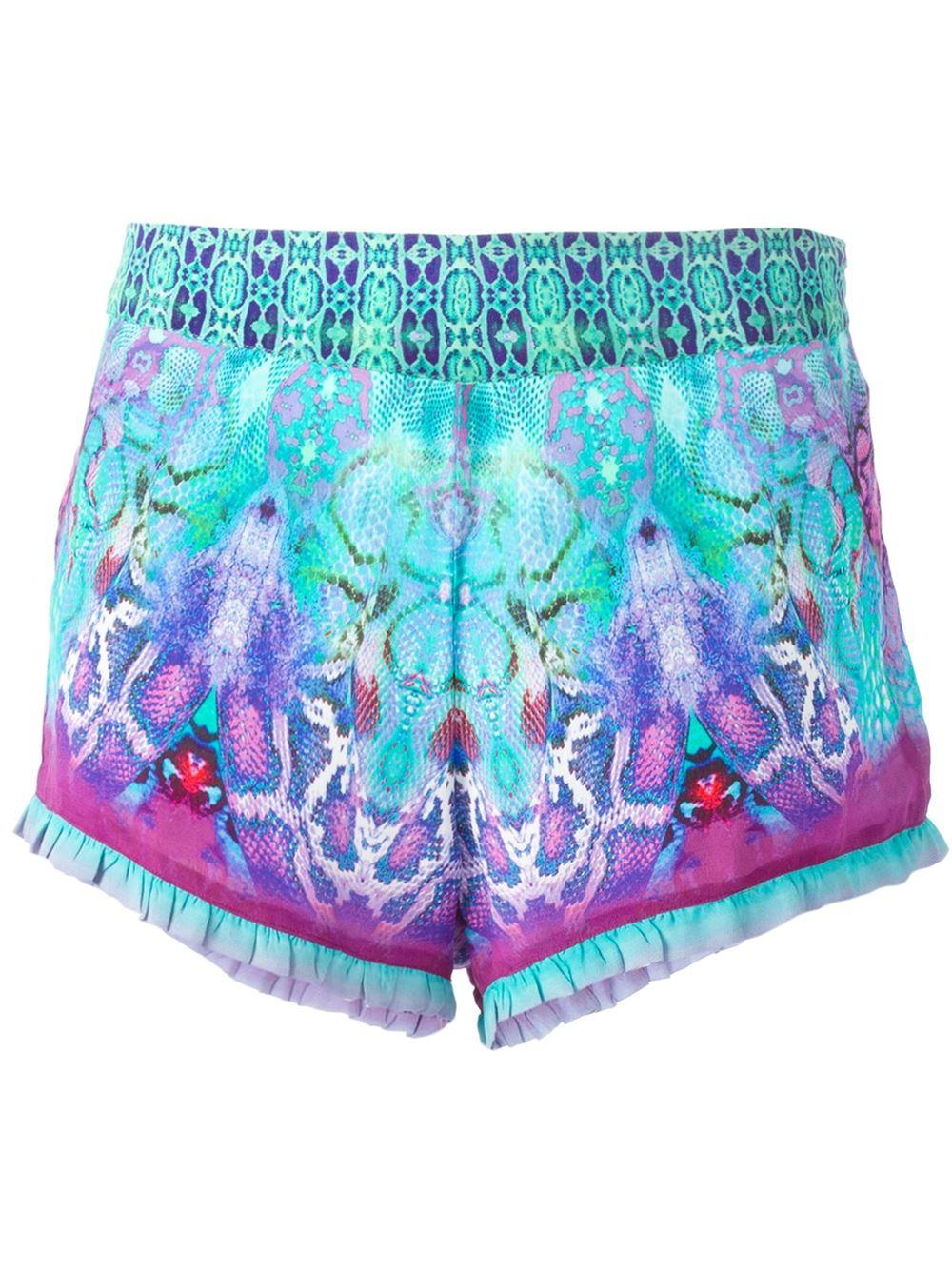 7837365333 Camilla Snakeskin Print Shorts - Lyst