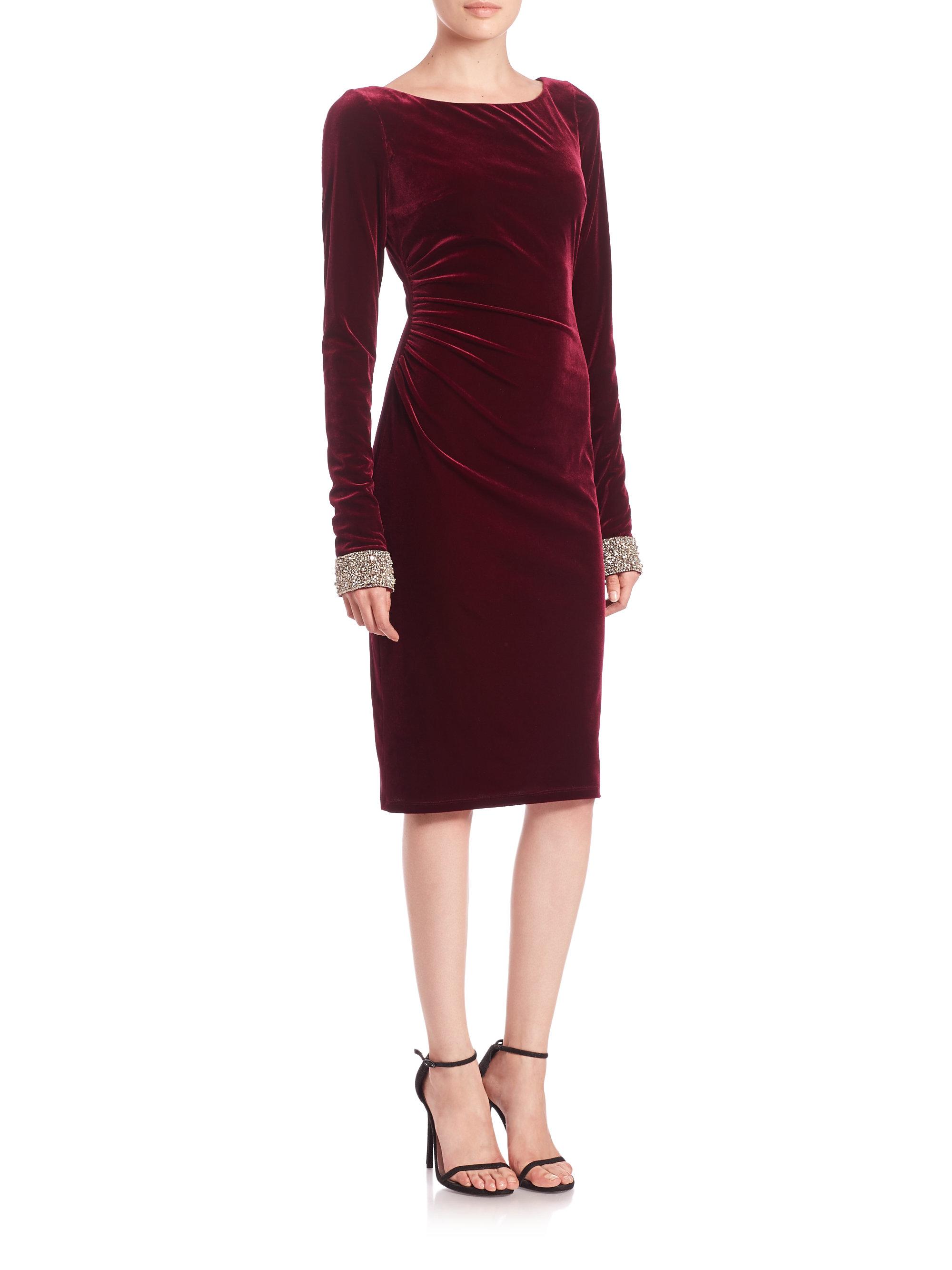 David meister Beaded Velvet Cocktail Dress in Red - Lyst