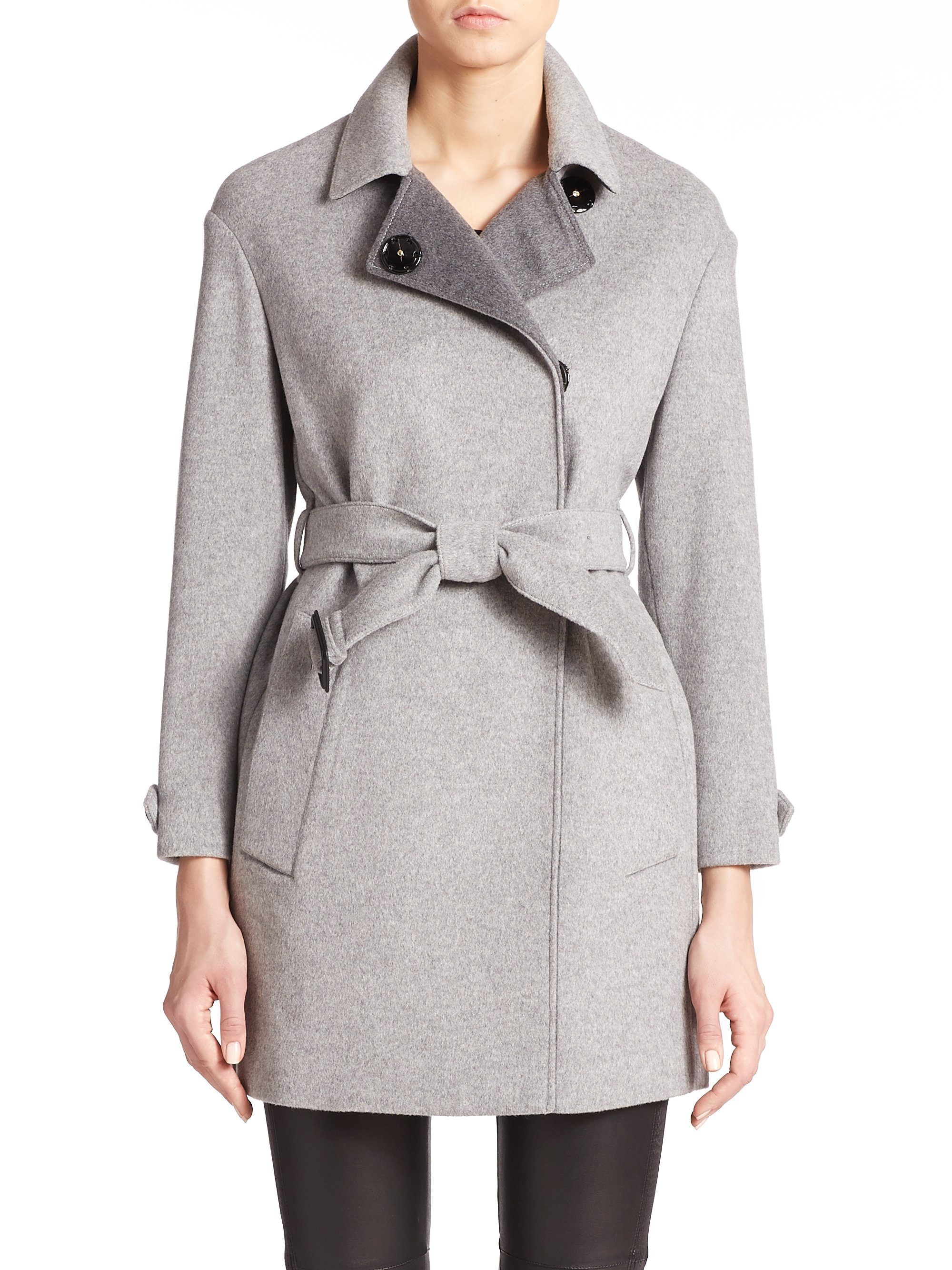 Burberry Hawkwell Wool/cashmere Short Coat in Gray | Lyst