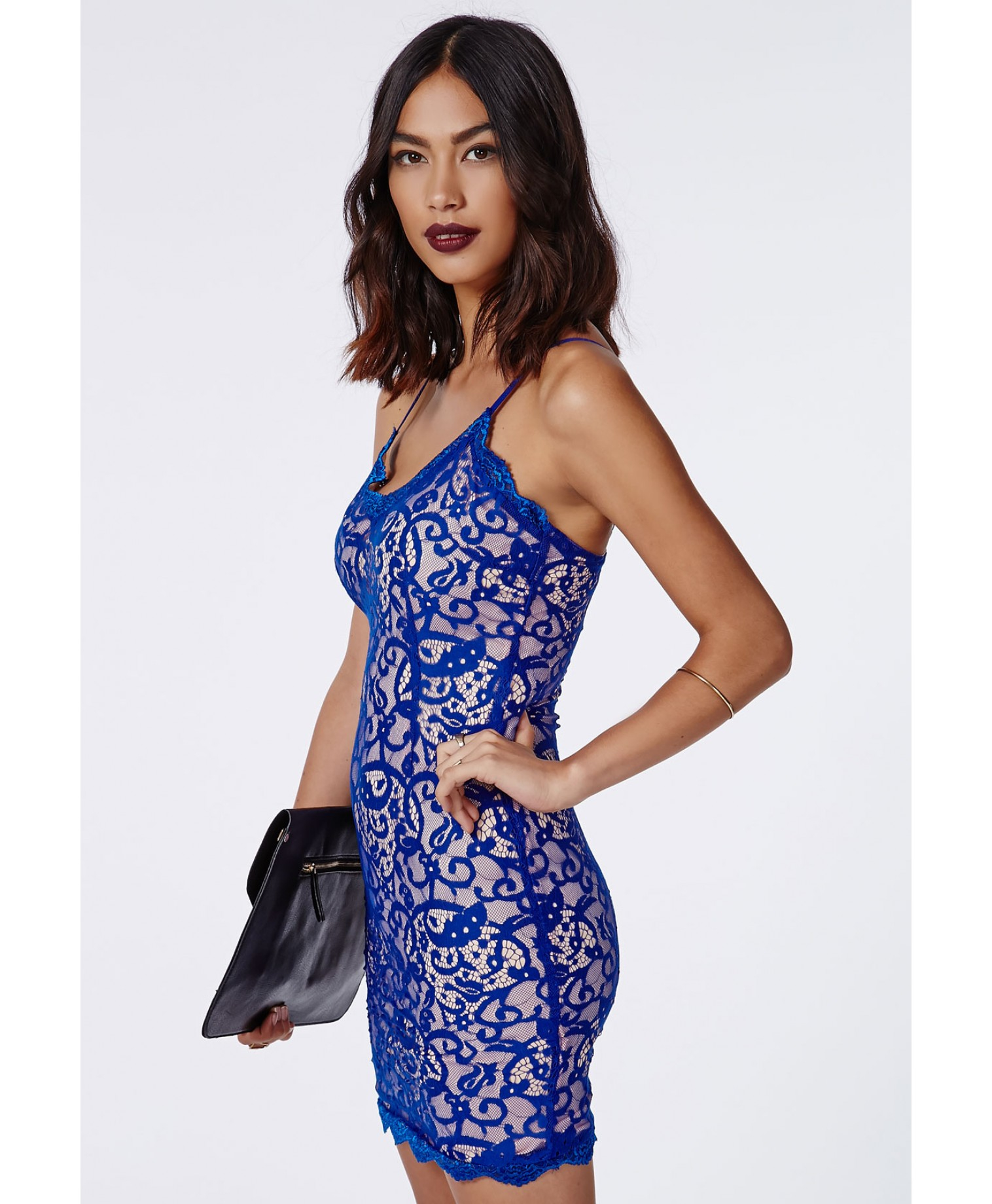 Blue lace missguided dress