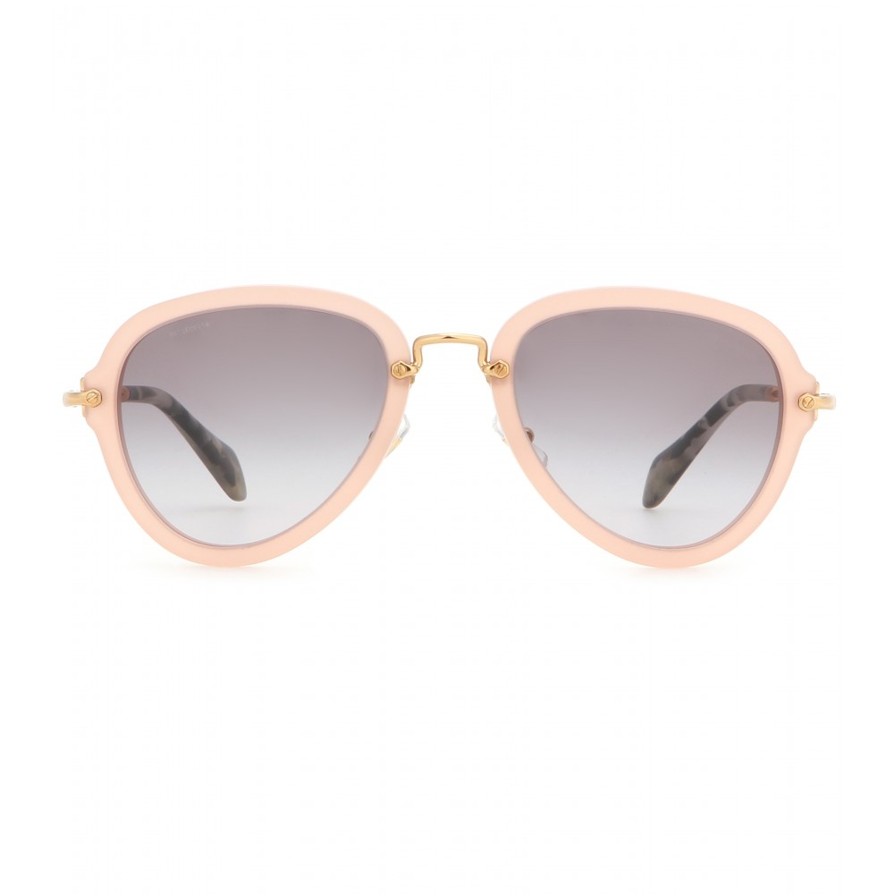 Miu Miu Oversized Metal Aviator Sunglasses Pink
