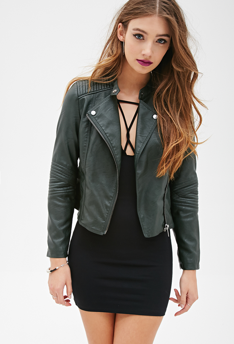 Forever 21 Quilted Faux Leather Moto Jacket in Green | Lyst