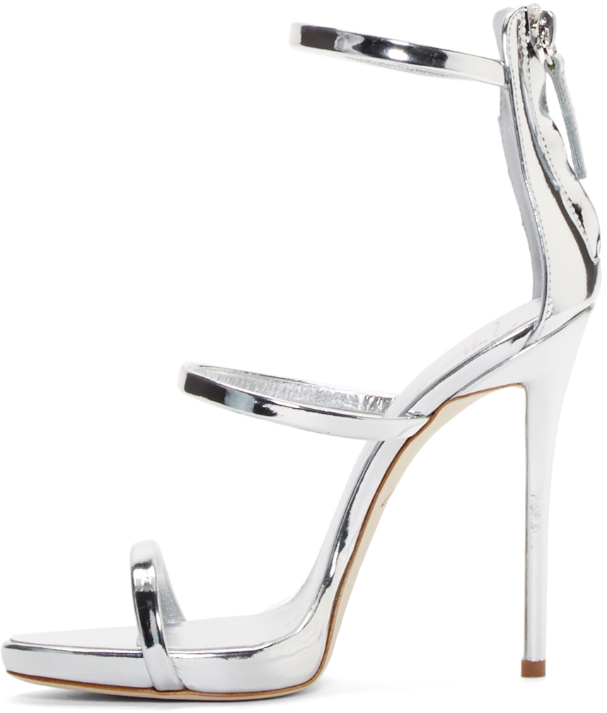 lyst giuseppe zanotti silver coline heeled sandals in