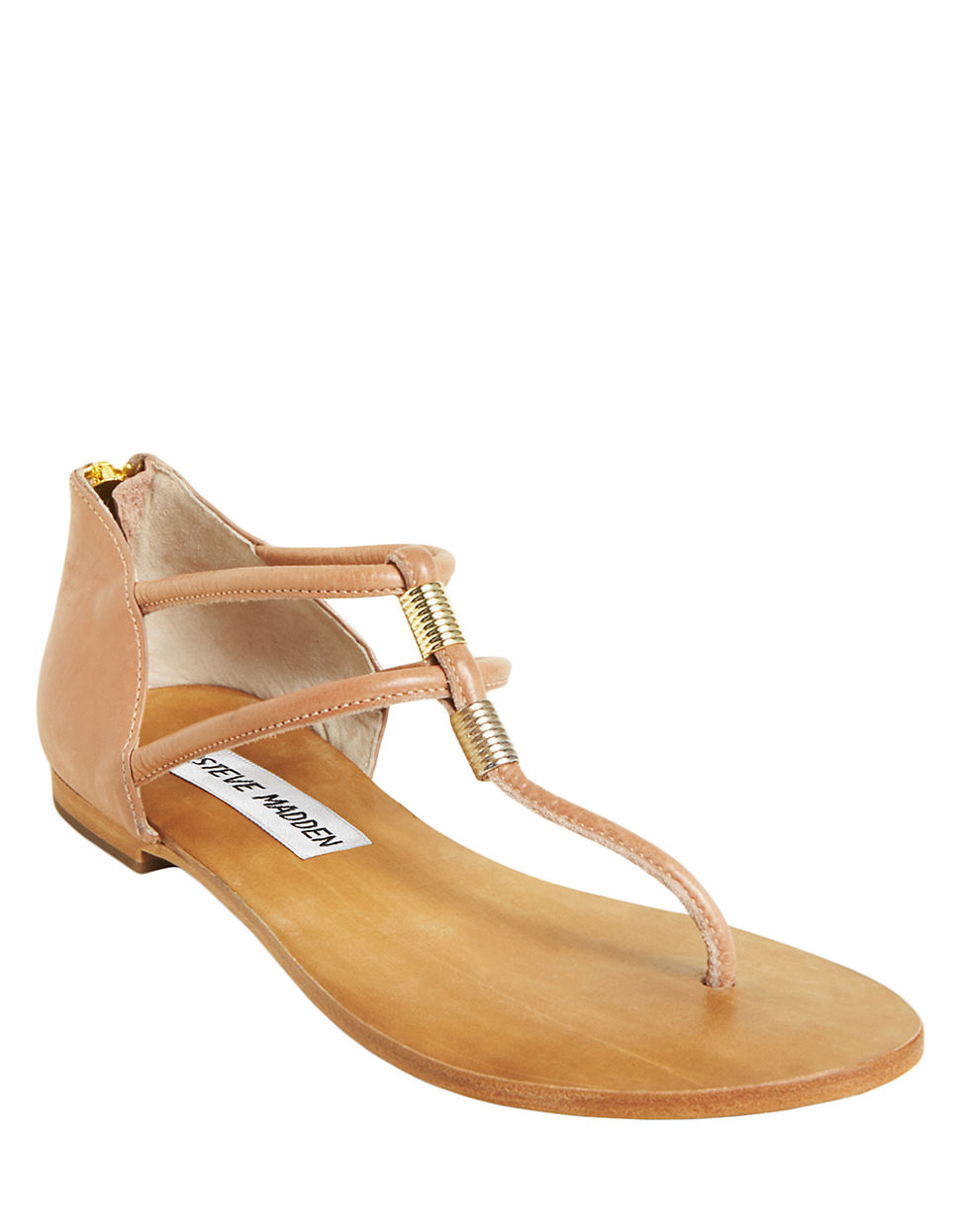 Steve Madden Rantt Faux Leather Thong Sandals In Beige