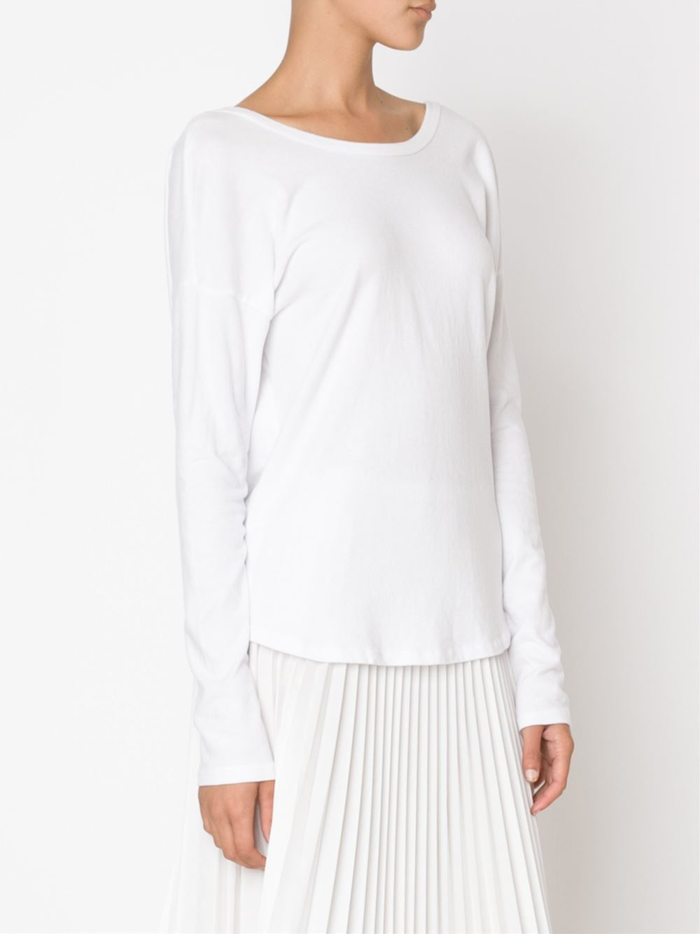 Lyst James Perse Draped Back Long Sleeve T Shirt In White