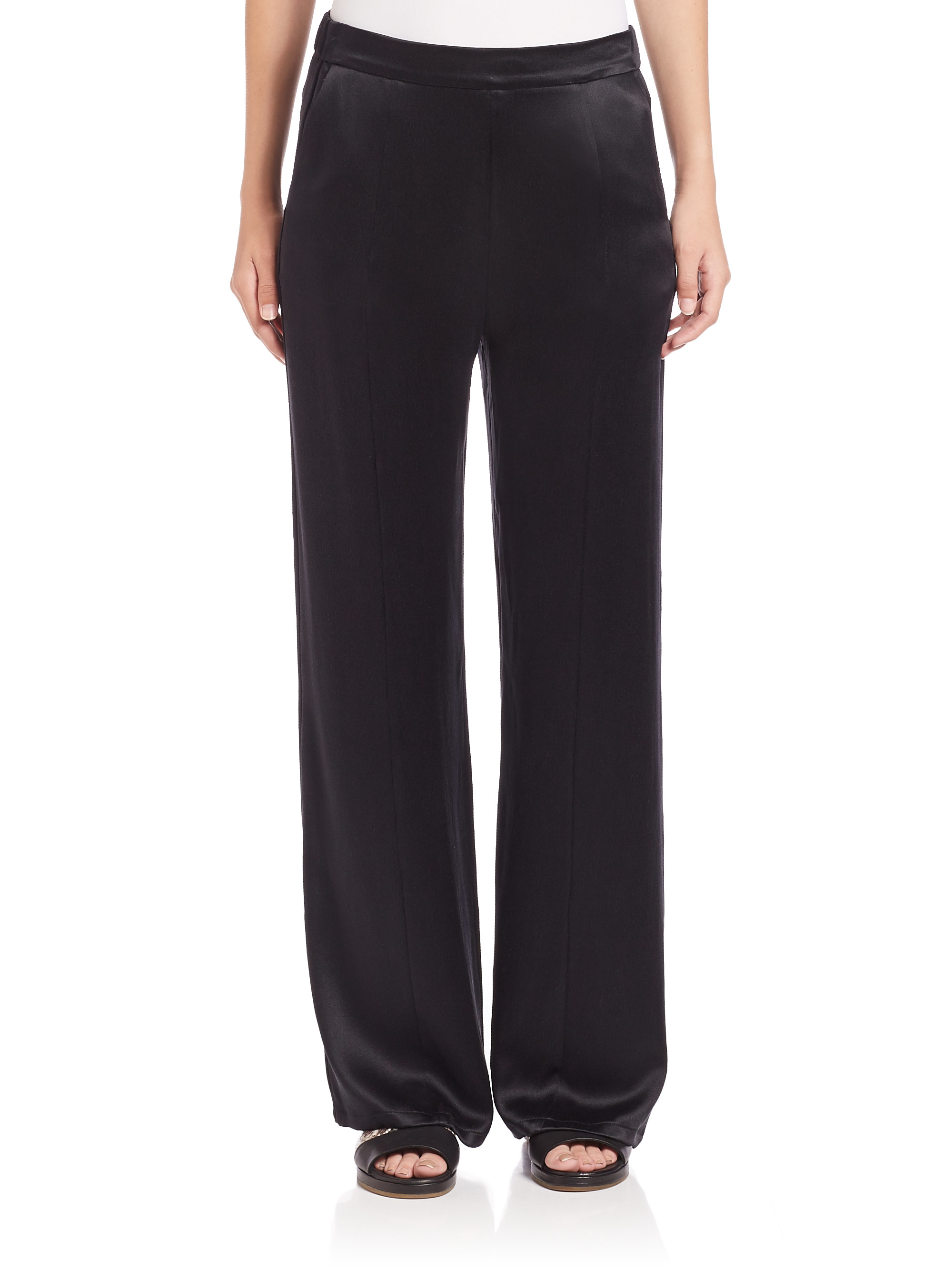 Equipment Beckett Silk Charmeuse Pants in Black | Lyst