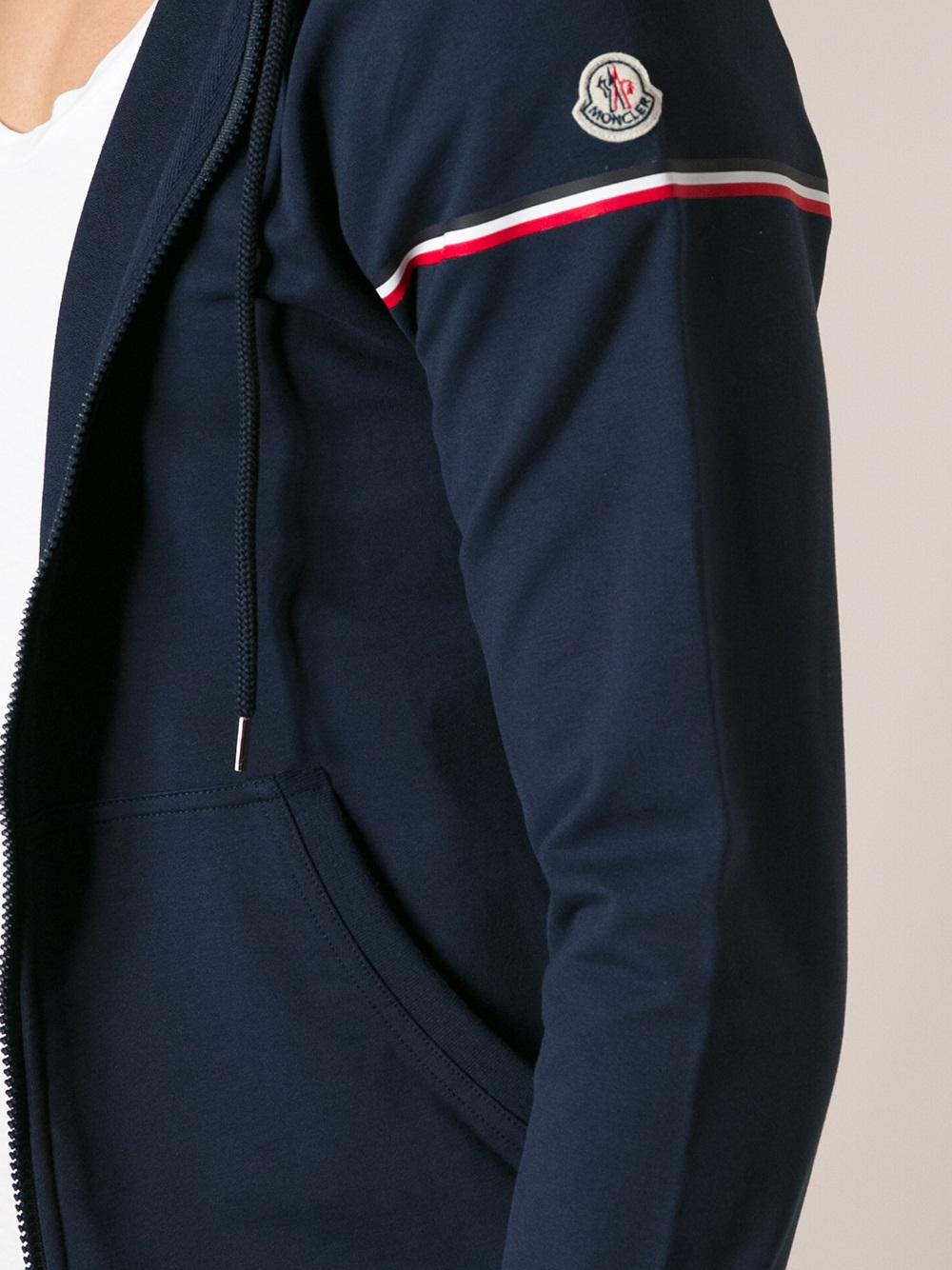 moncler trim zip hoodie black