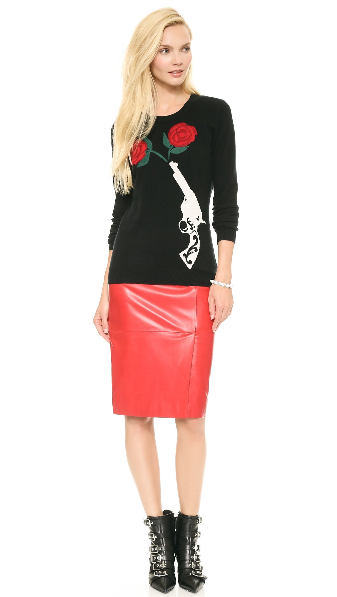 Moschino Cheap and Chic Leather Skirt Red in Red | Lyst