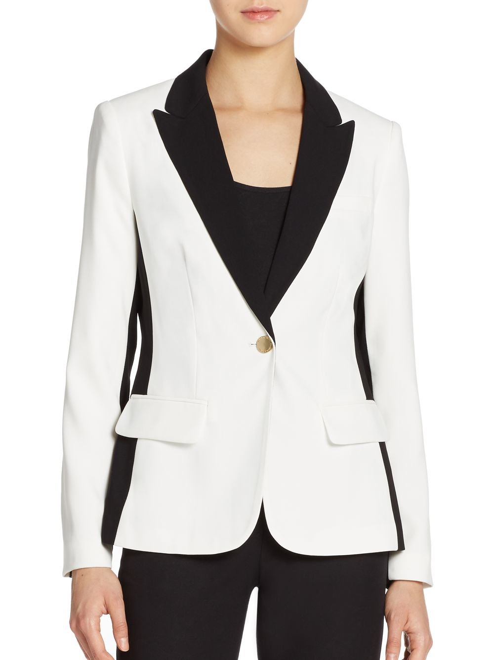Lyst Ivanka Trump Color Blocked Crepe Blazer In White
