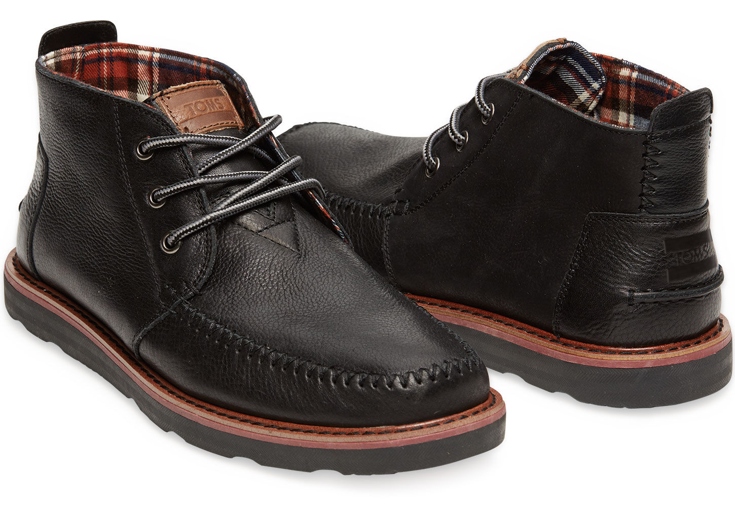 toms black leather s chukka boots in black for