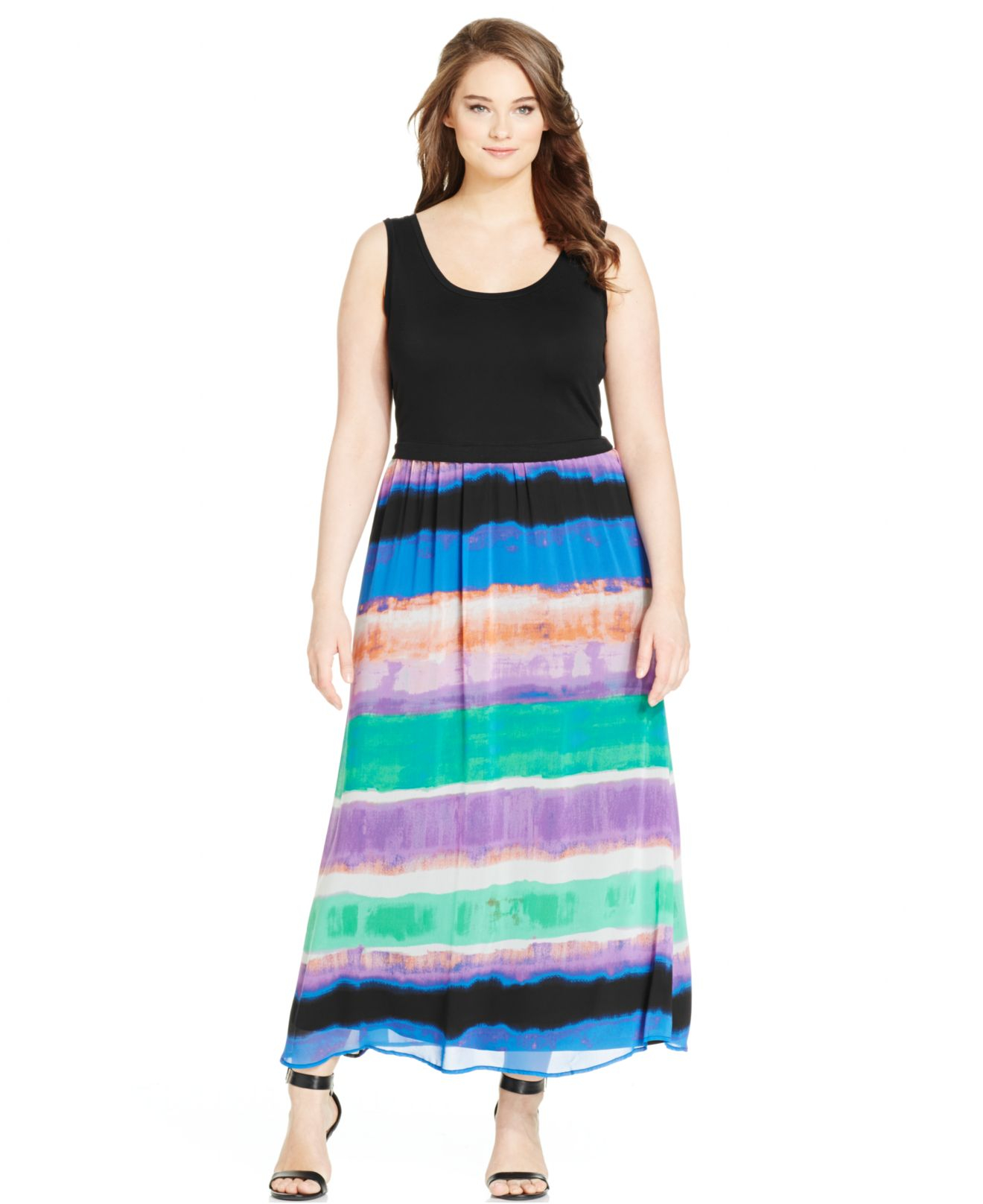 Calvin klein Plus Size Printed Colorblocked Maxi Dress in Green | Lyst