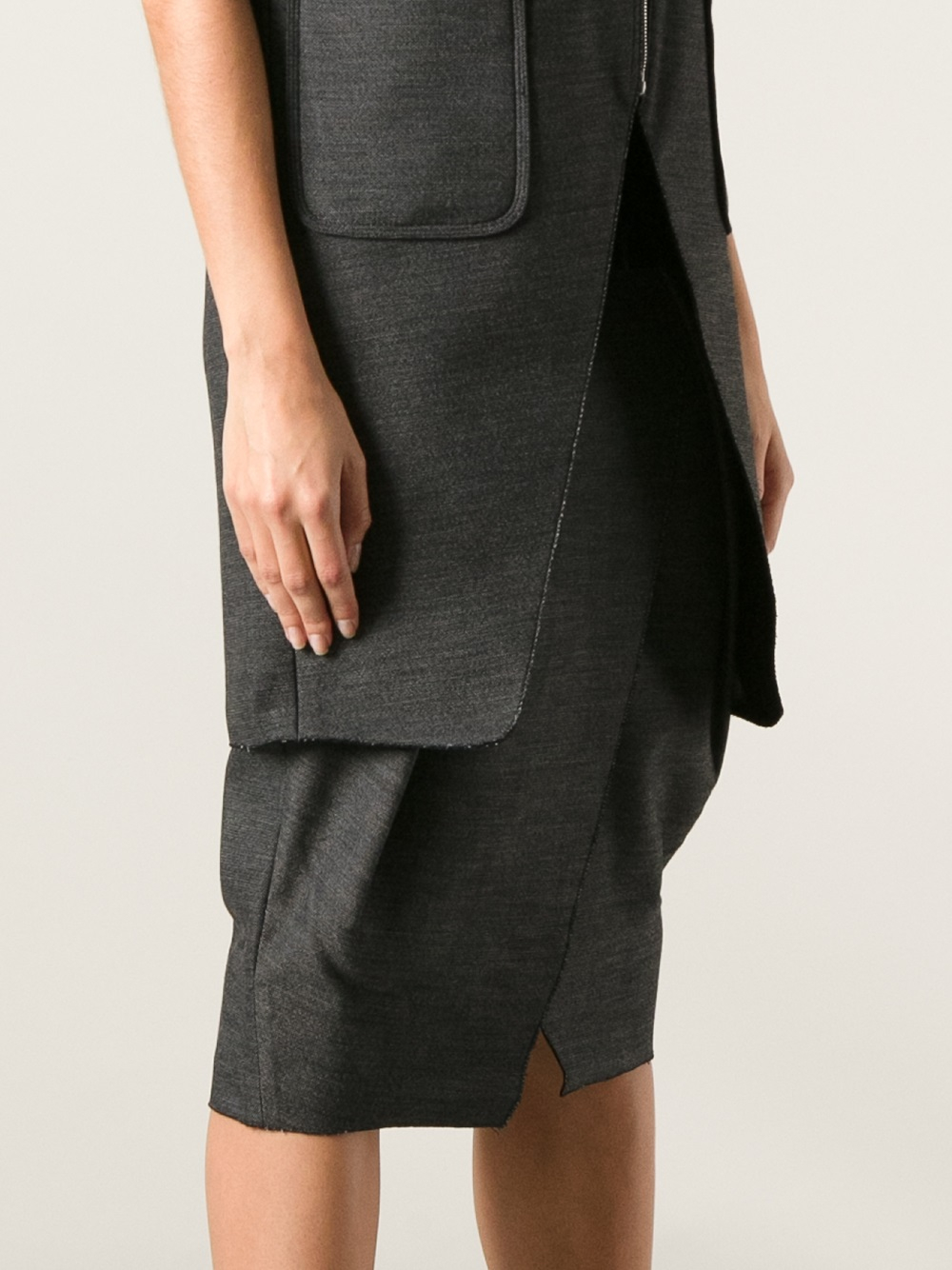 wang leather waistband tulip skirt in gray lyst