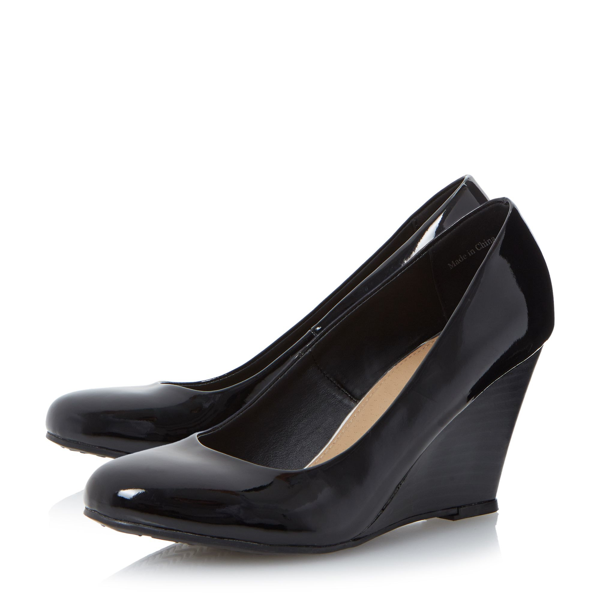 linea apryl wedge heel court shoes in black lyst
