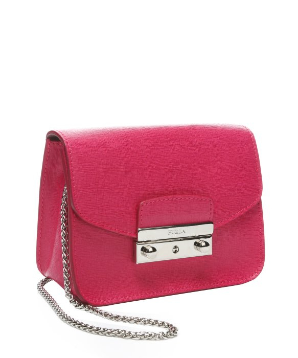 Furla Hot Pink Leather Julia Mini Shoulder Bag in Pink