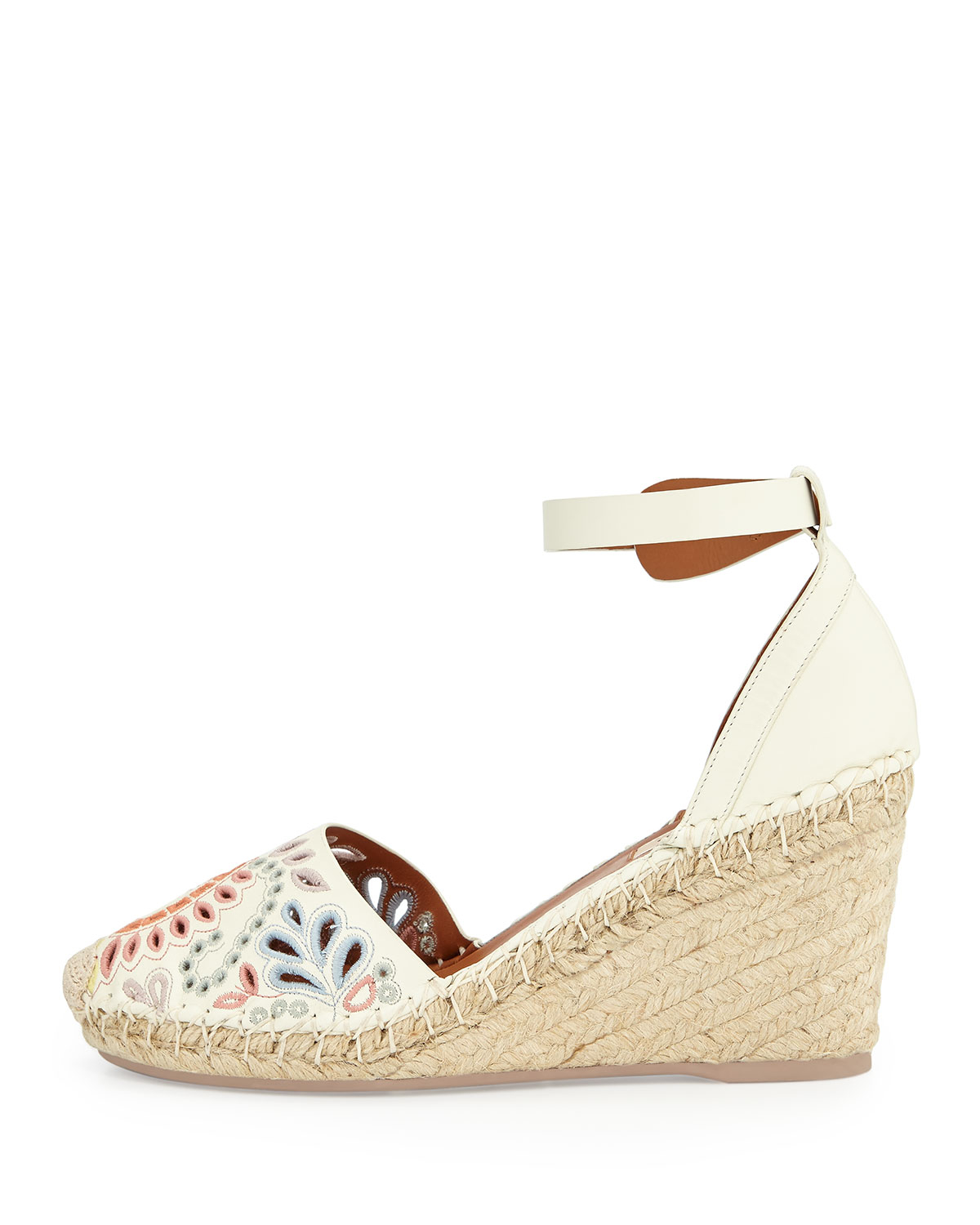 Lyst valentino floral embroidered wedge espadrille in white