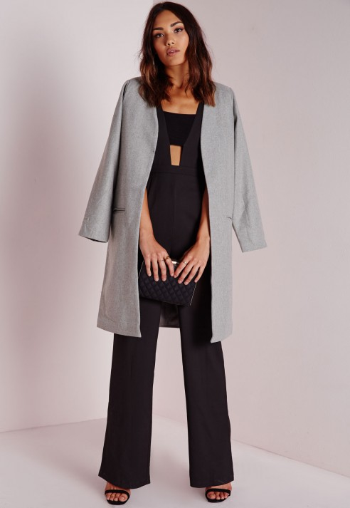 Missguided Collarless Wool Coat Grey in Gray | Lyst