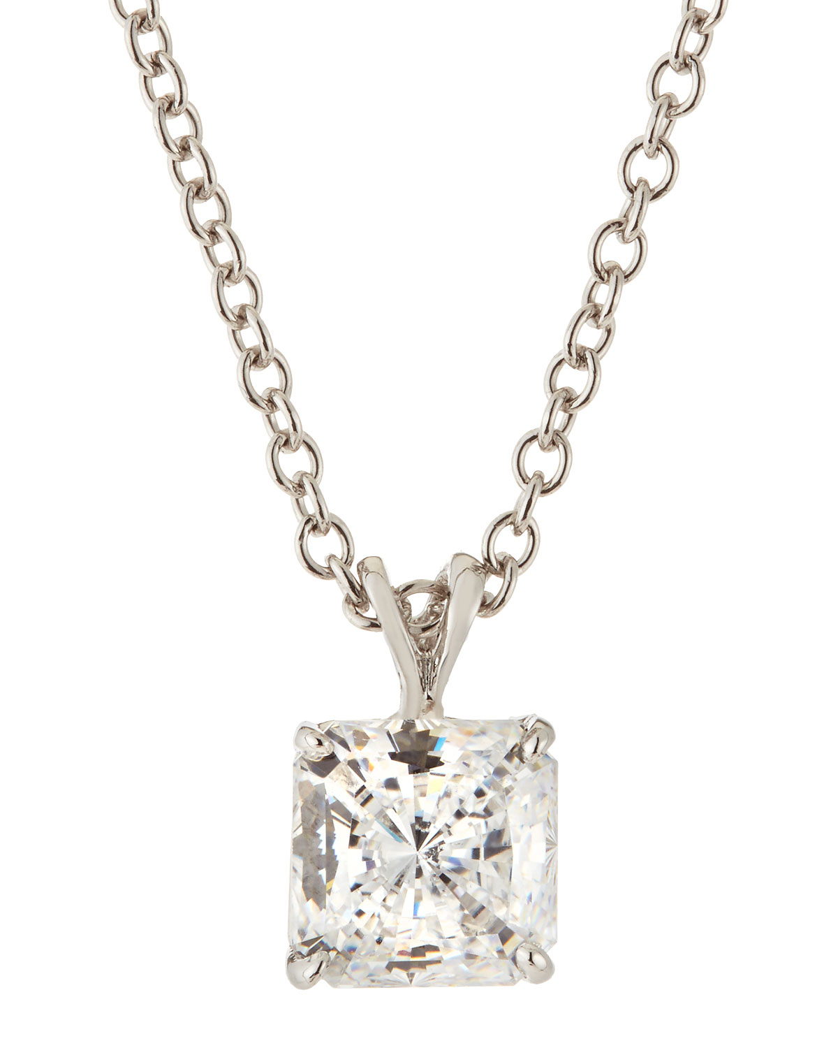 cut diamond carat gold white princess pendant necklace solitaire product i