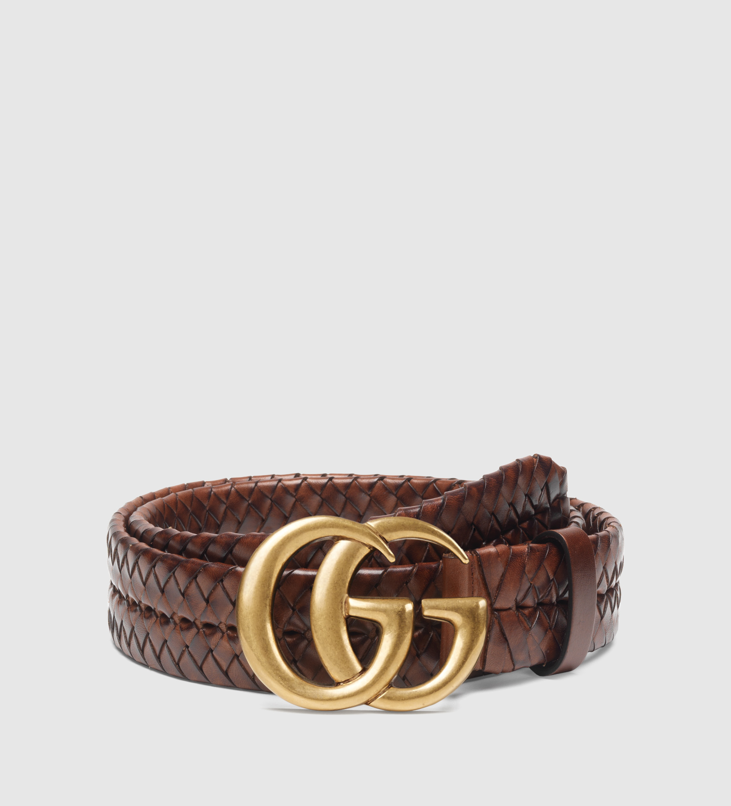 9b11ac2ccf0 Perfect Lyst - Gucci Braided Belt With Double G Buckle in Brown UZ05