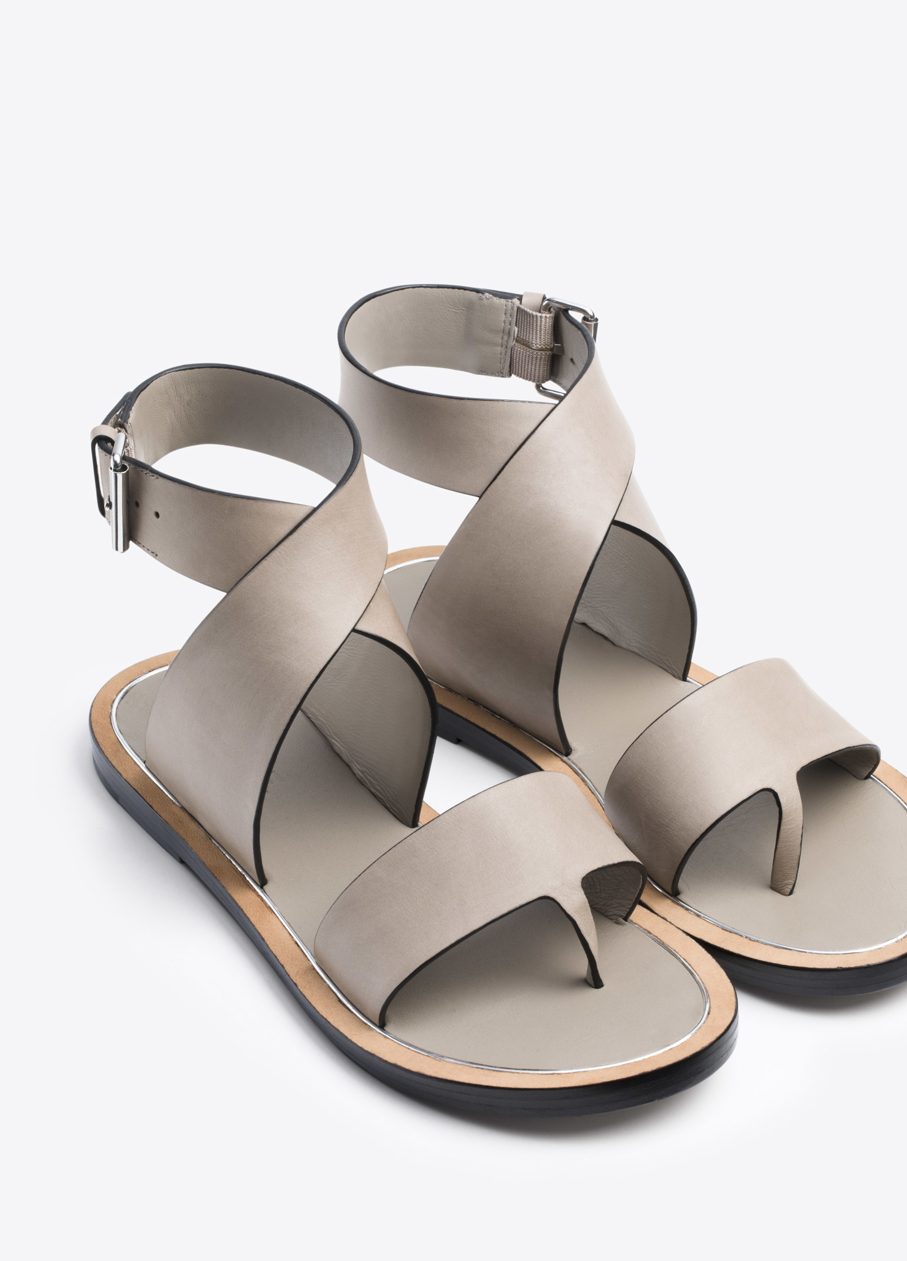 Lyst Vince Mailin Leather Sandal In Gray