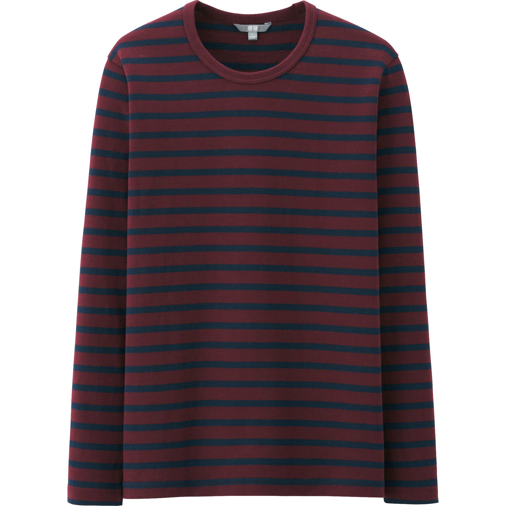 Uniqlo men washed striped crew neck long sleeve t shirt in for Mens striped long sleeve t shirt