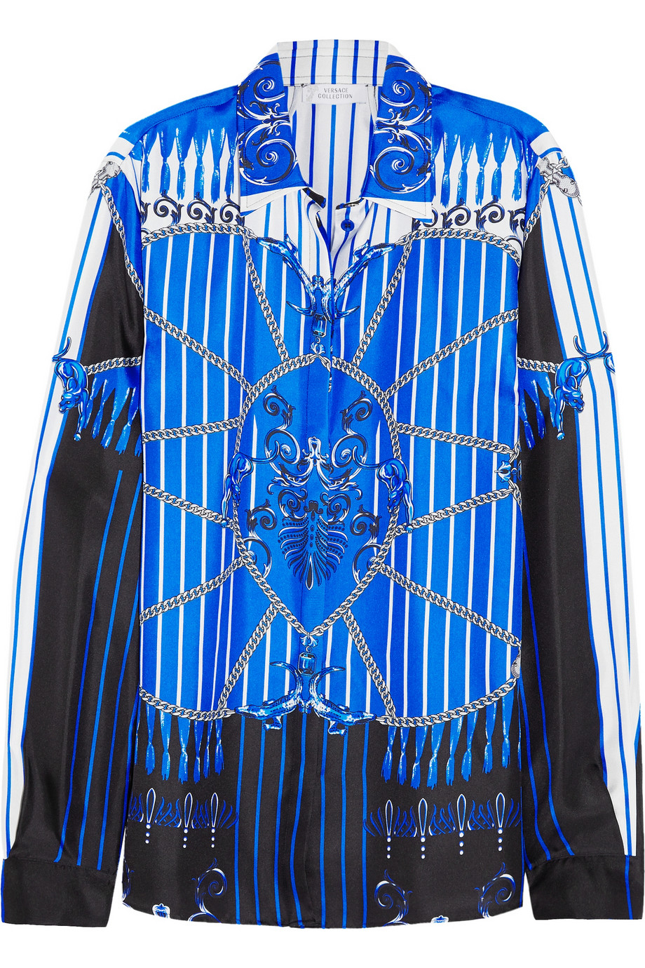 Versace printed silk satin twill shirt in blue bright for Blue and white versace shirt