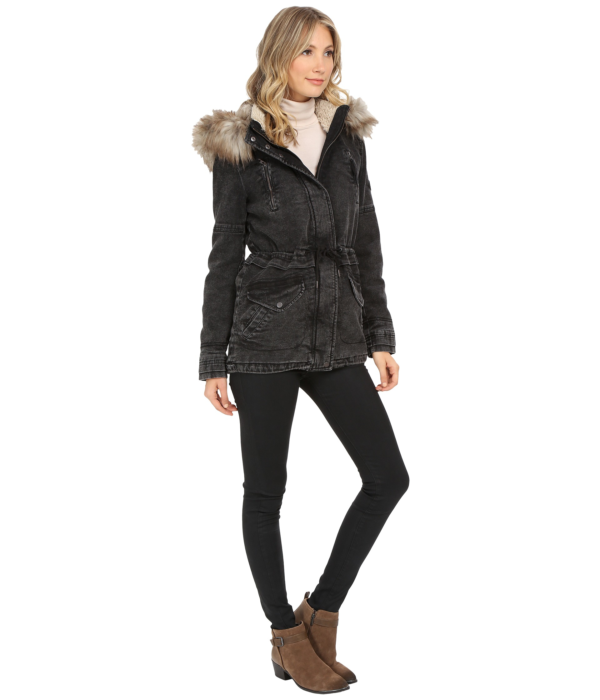 Only Lee Denim Parka Coat in Black | Lyst
