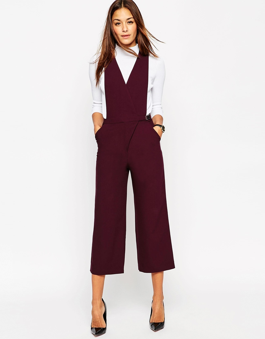 Lyst Asos Jumpsuit With Pinafore Detail In Purple
